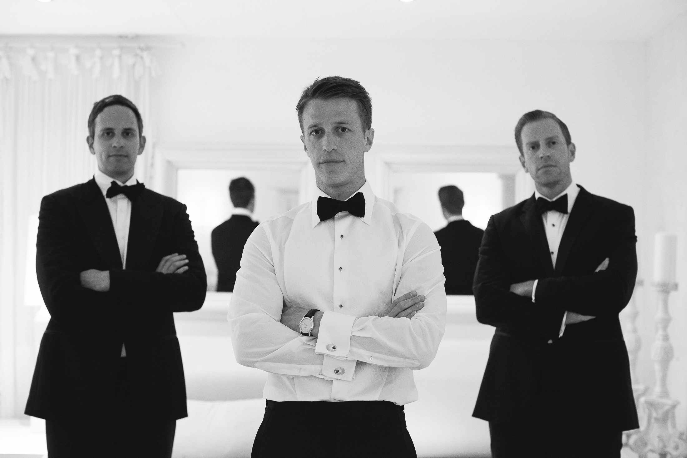 pasquale andreotti black and white groom's portrait with his best men