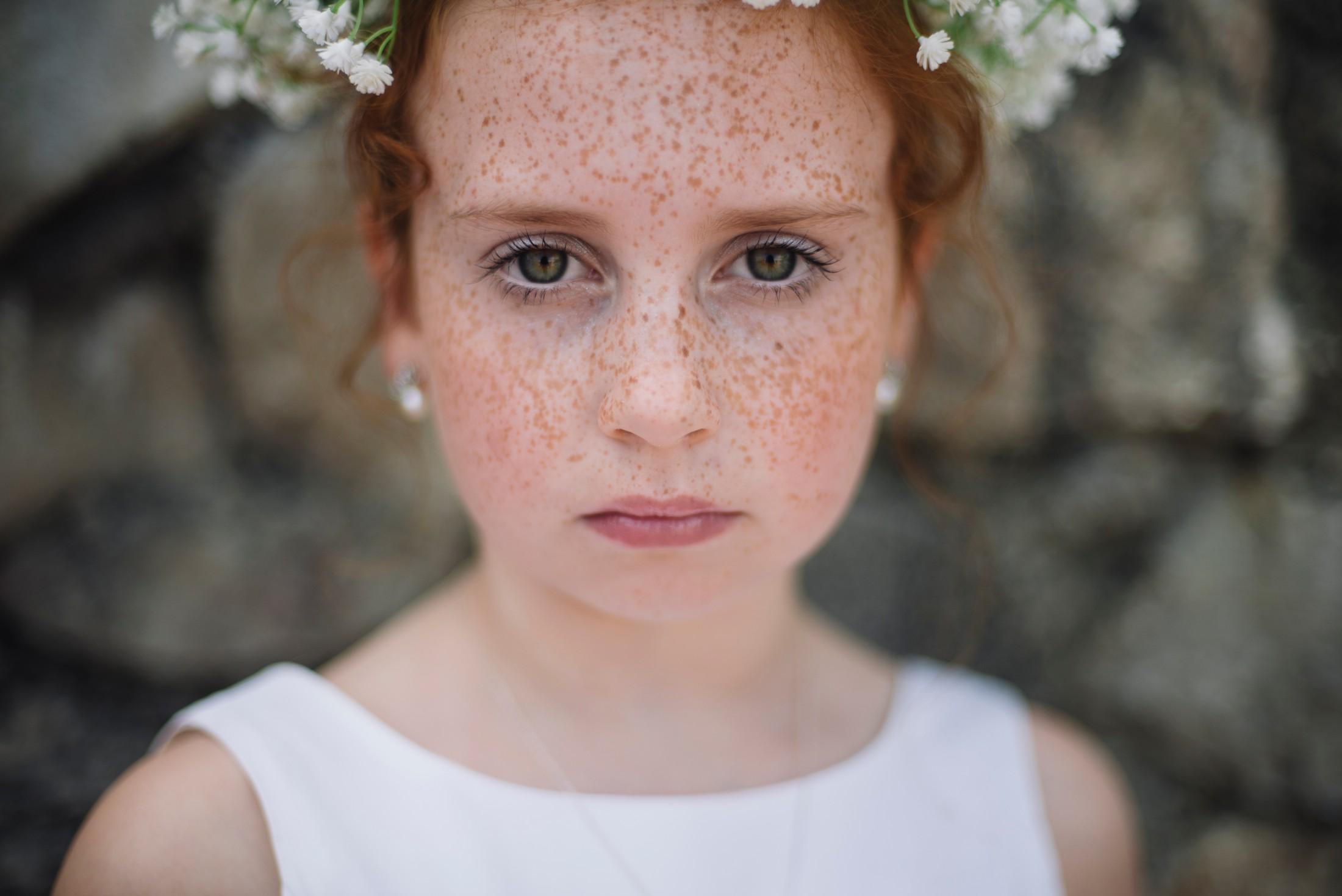 adriana alfano flower girl's portrait