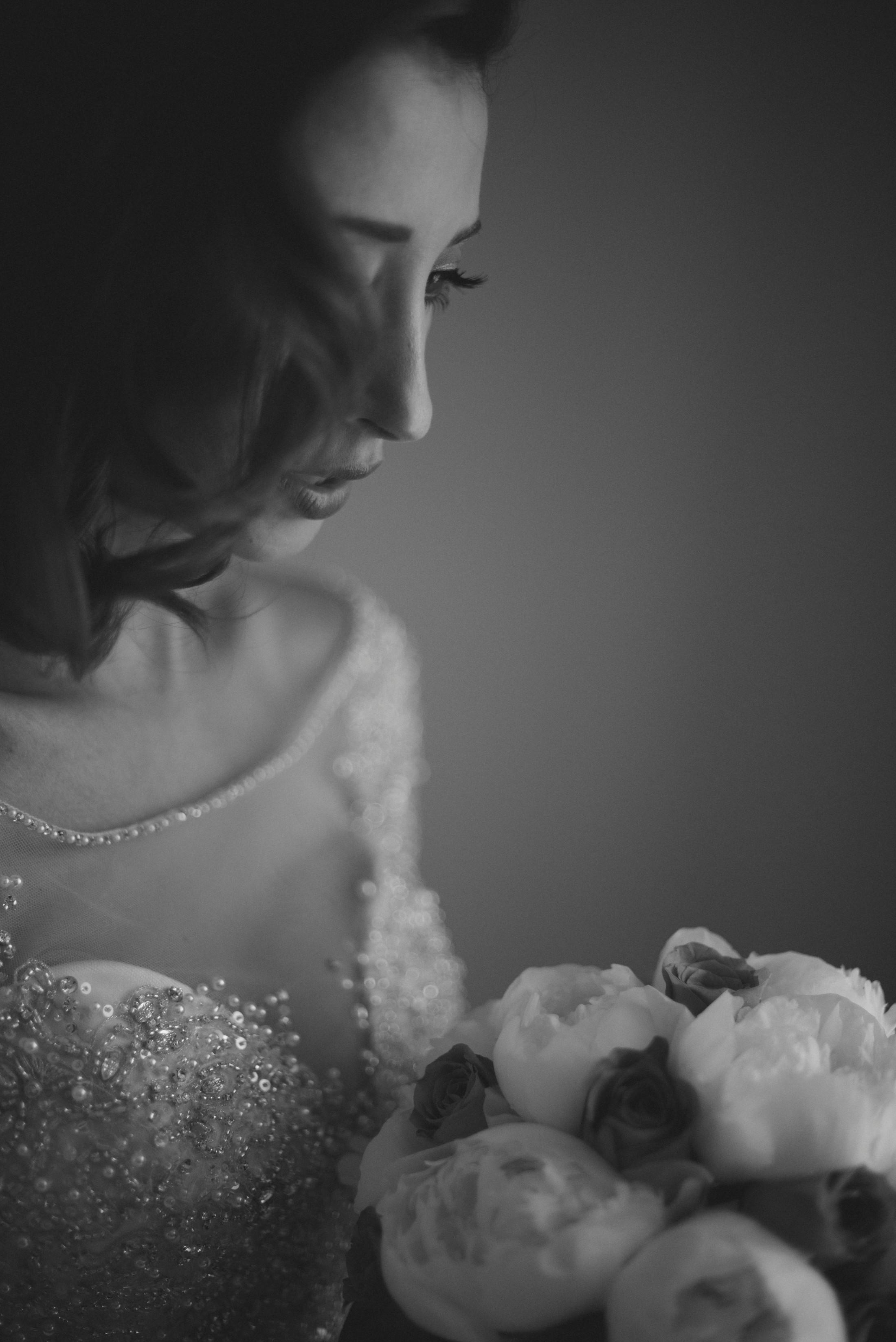 adriana alfano bride's portrait in black and white