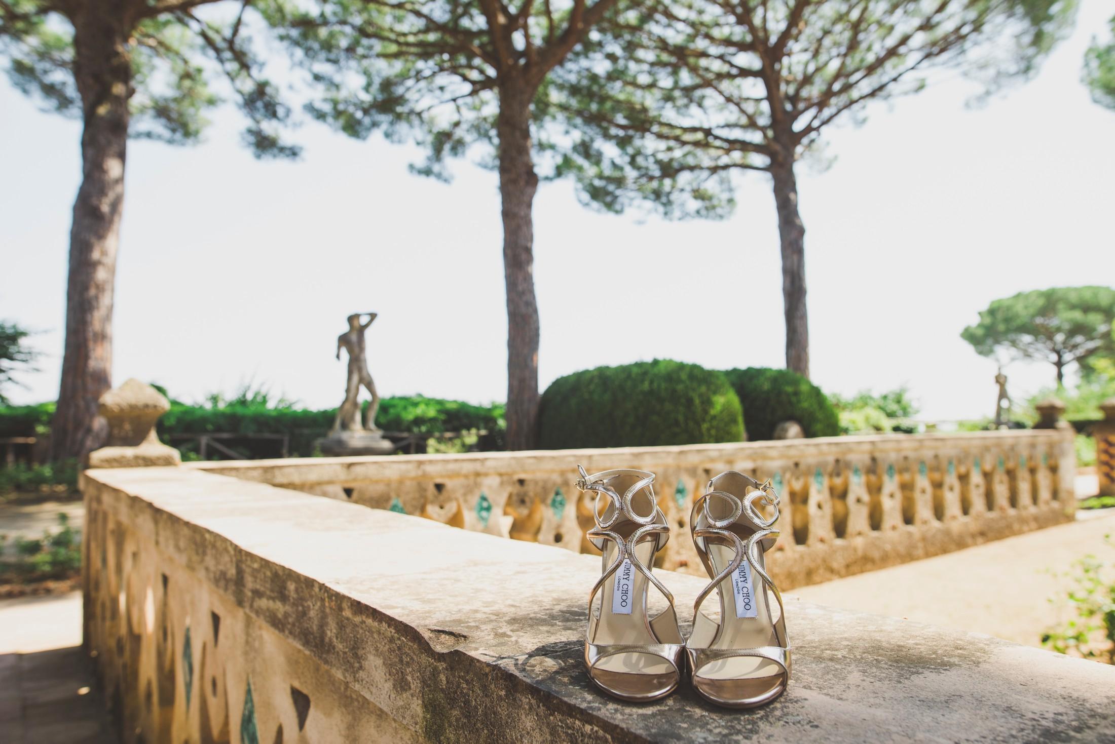 wedding shoes at villa cimbrone ravello italy