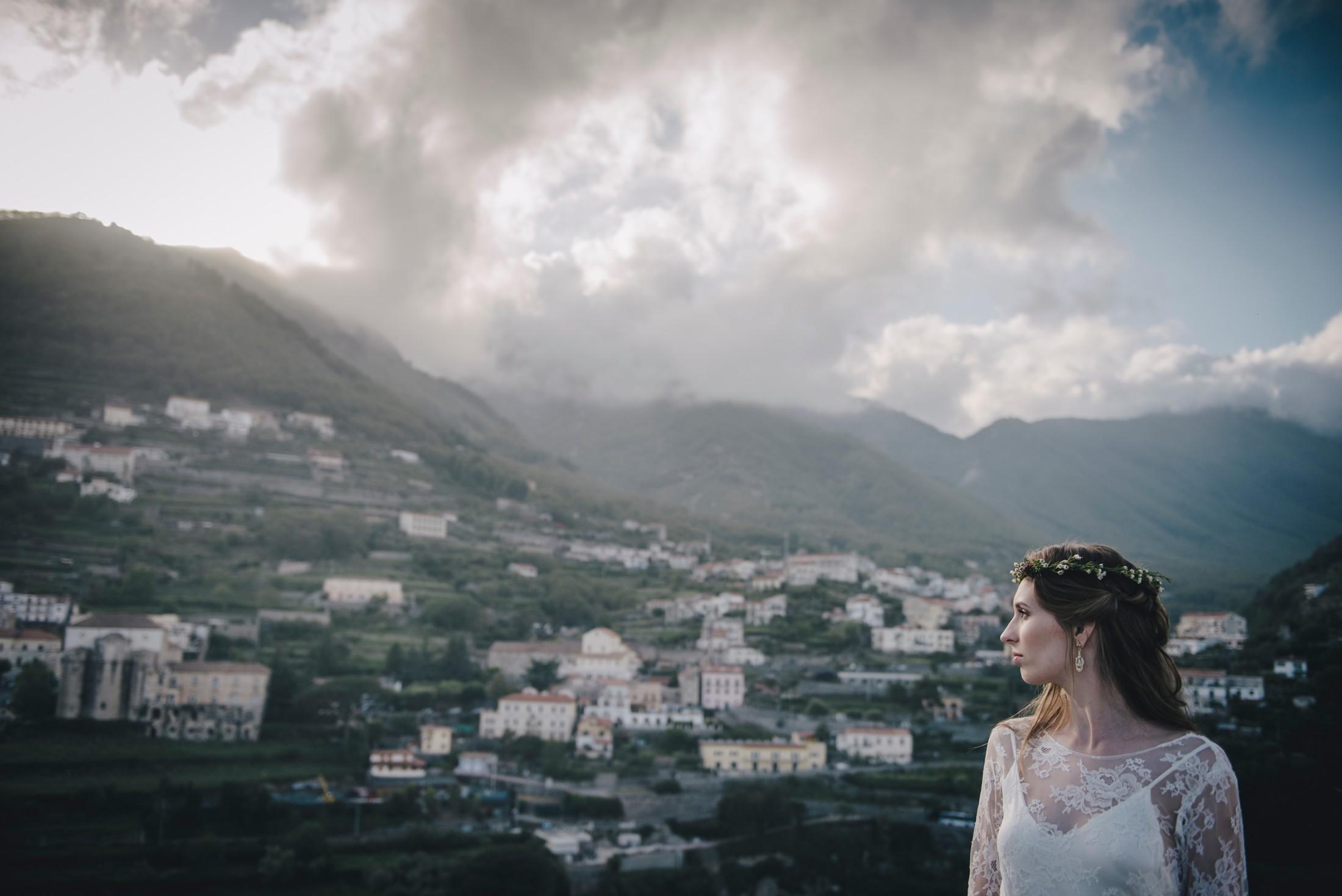 adriana alfano bride's portrait at hotel caruso ravello italy