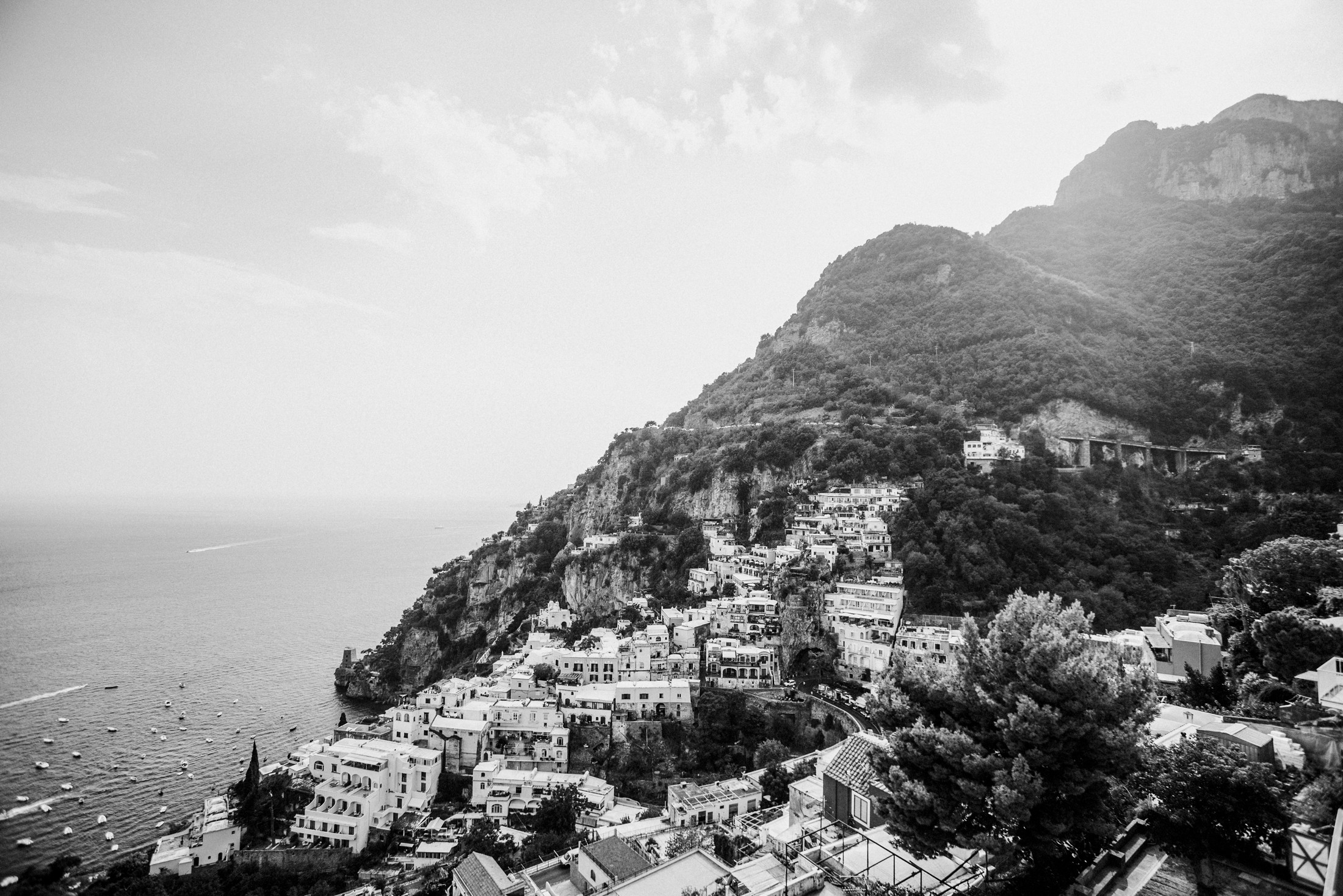 praiano landscape in black and white amalfi coast italy