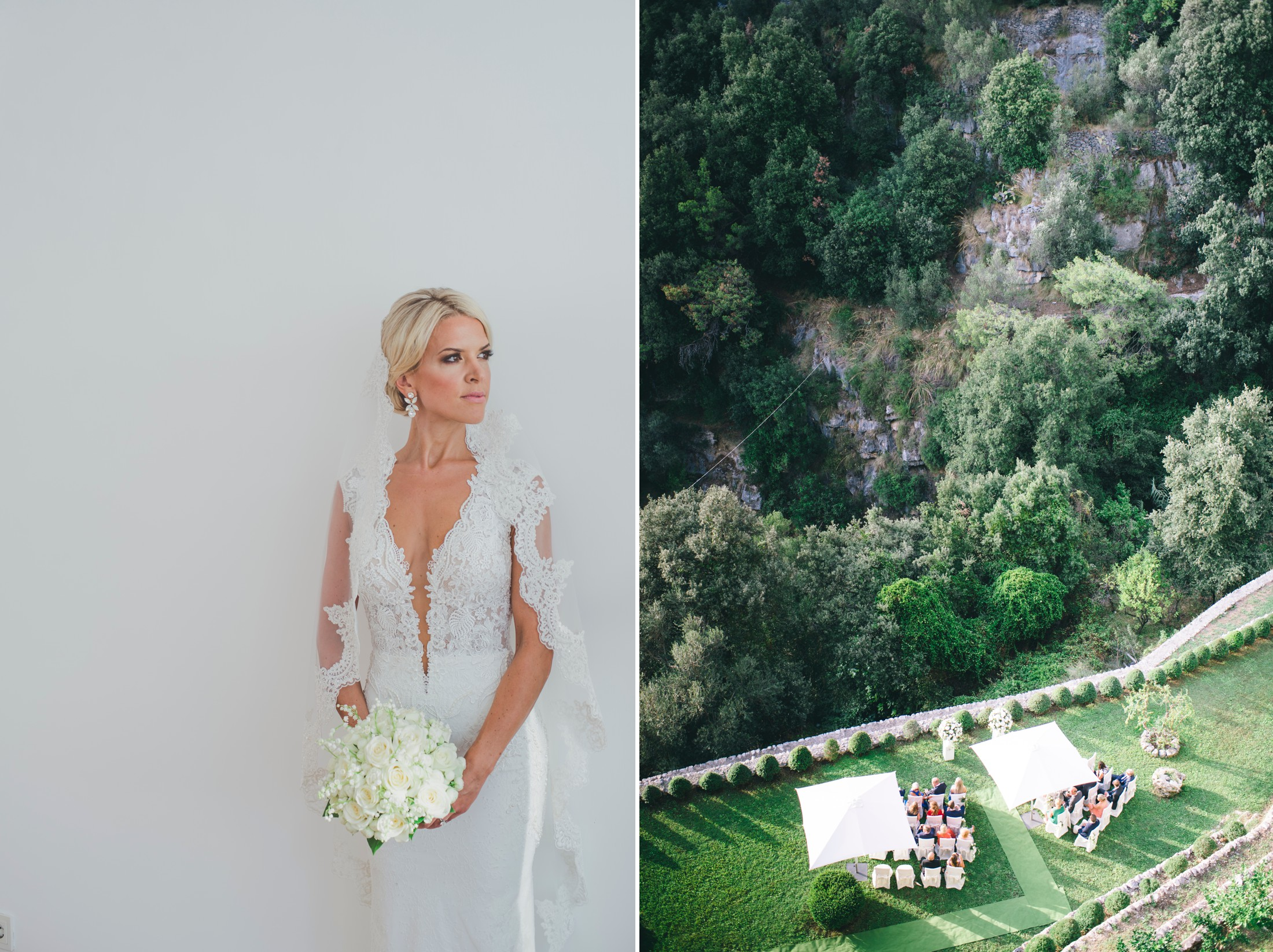 collage bride's portrait and a view of casa angelina praiano amalfi coast