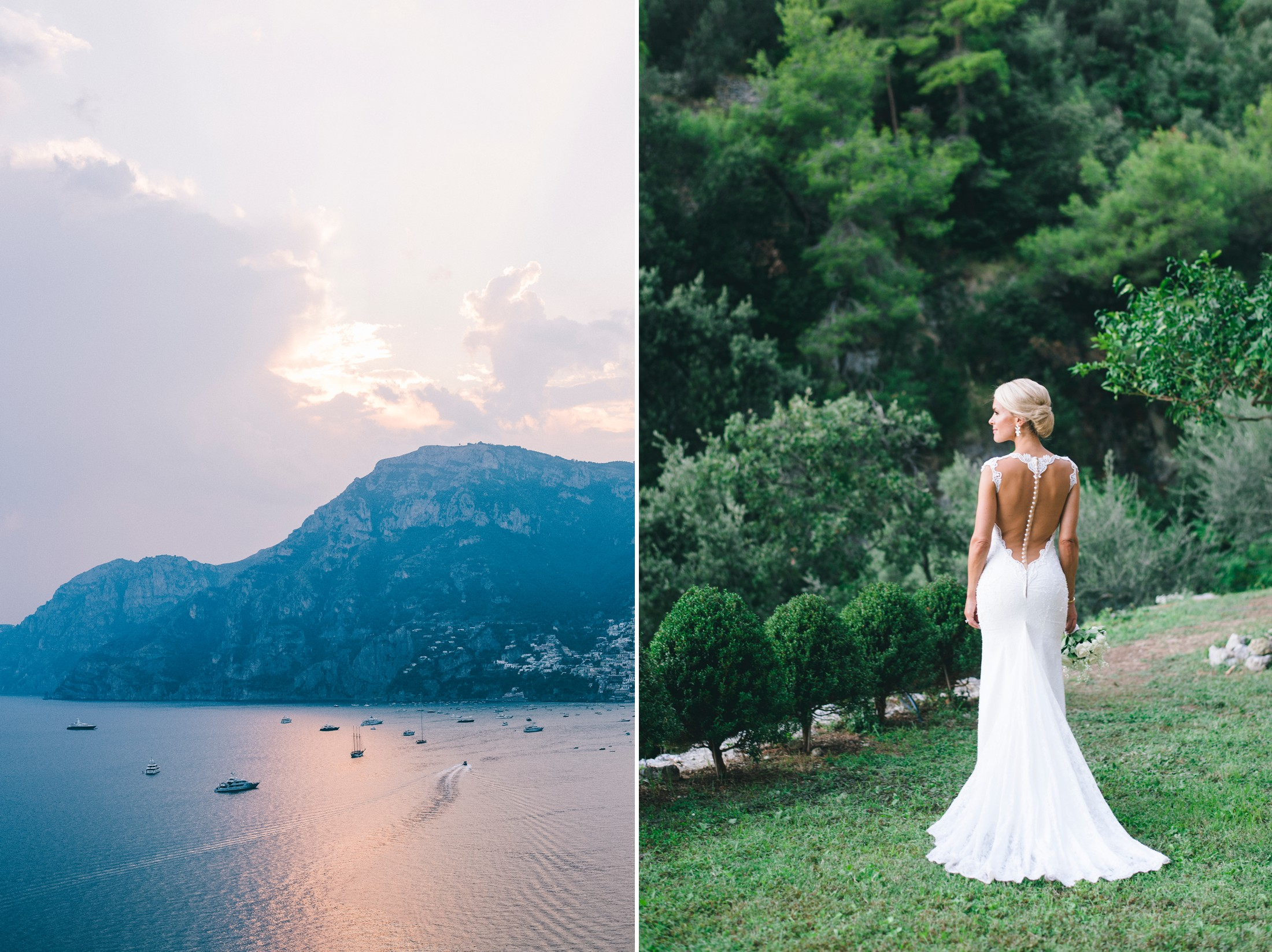 collage bride's portrait and the sea