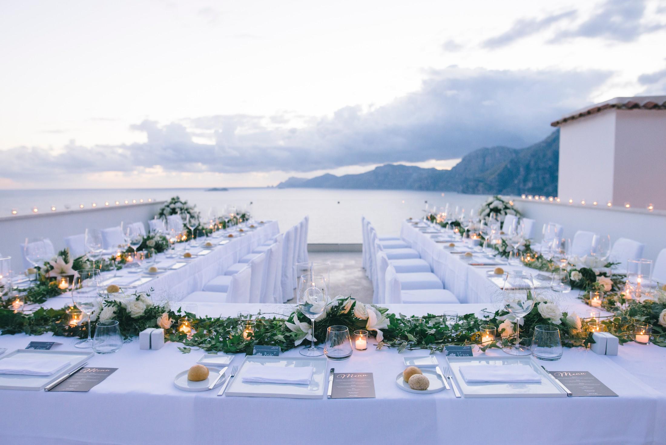wedding table set on a terrace of casa angelina praiano amalfi coat