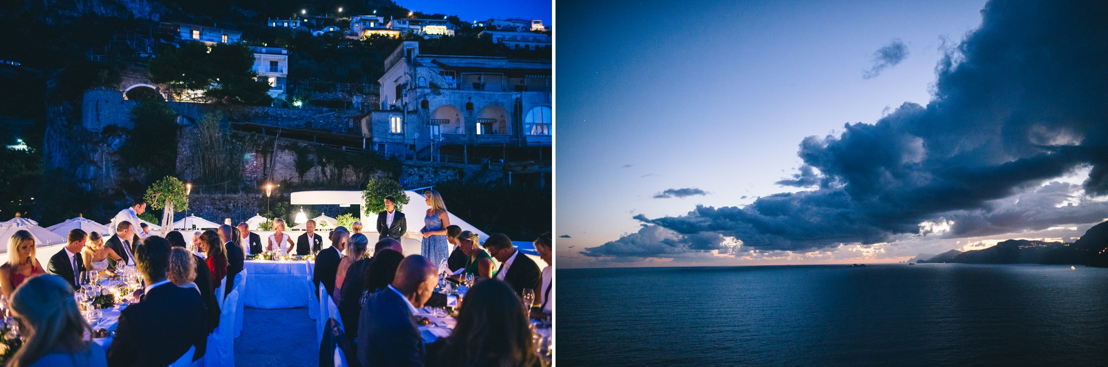 collage landscape with the sea and a moment from the wedding dinner on the terrace of casa angelina in praiano