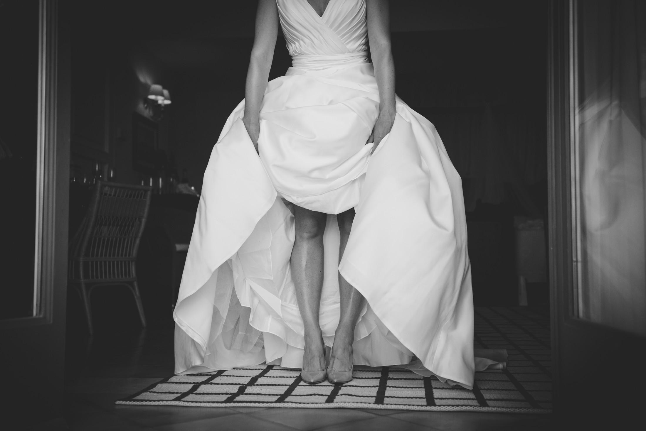 black and white bride legs
