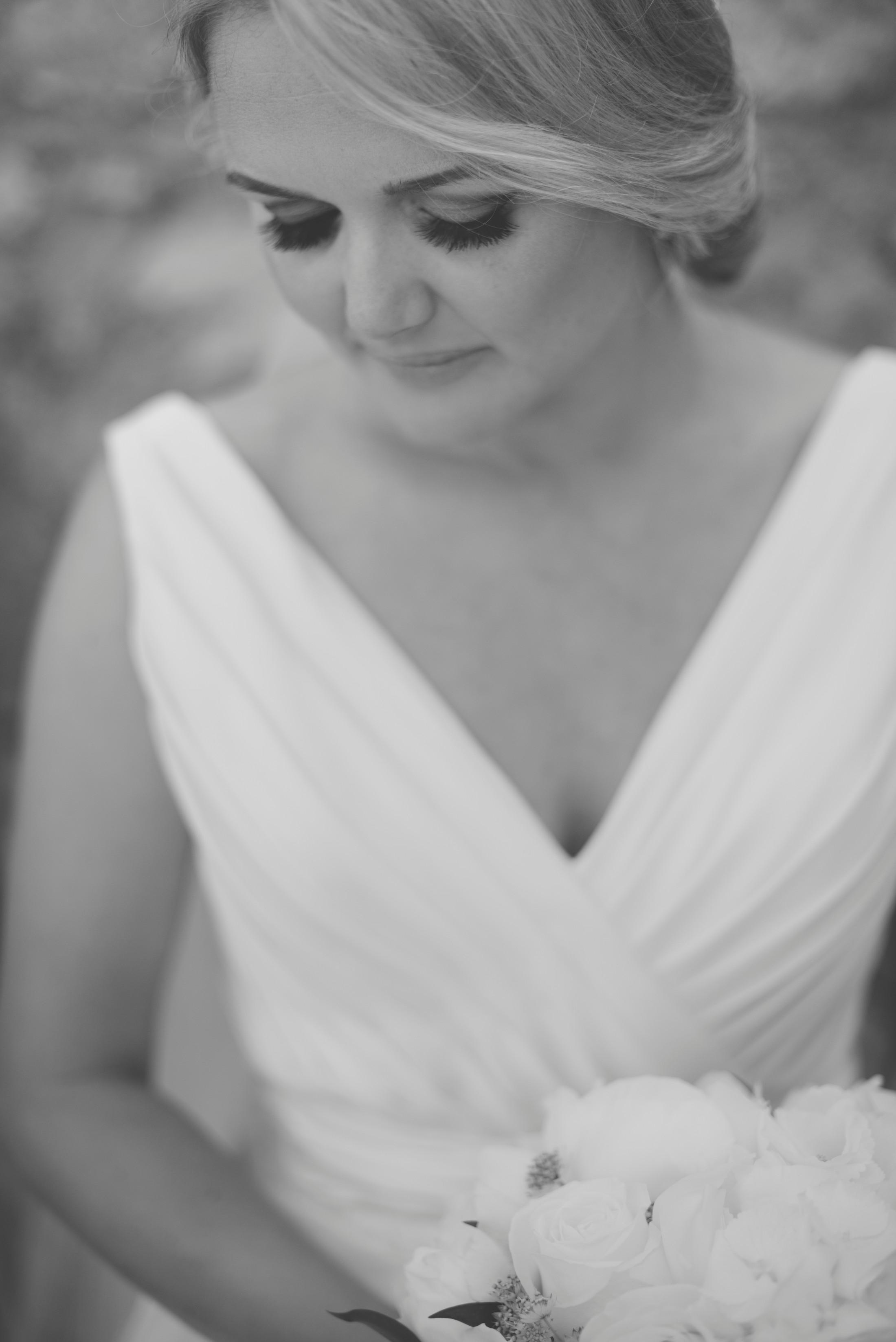 bride's black and white portrait