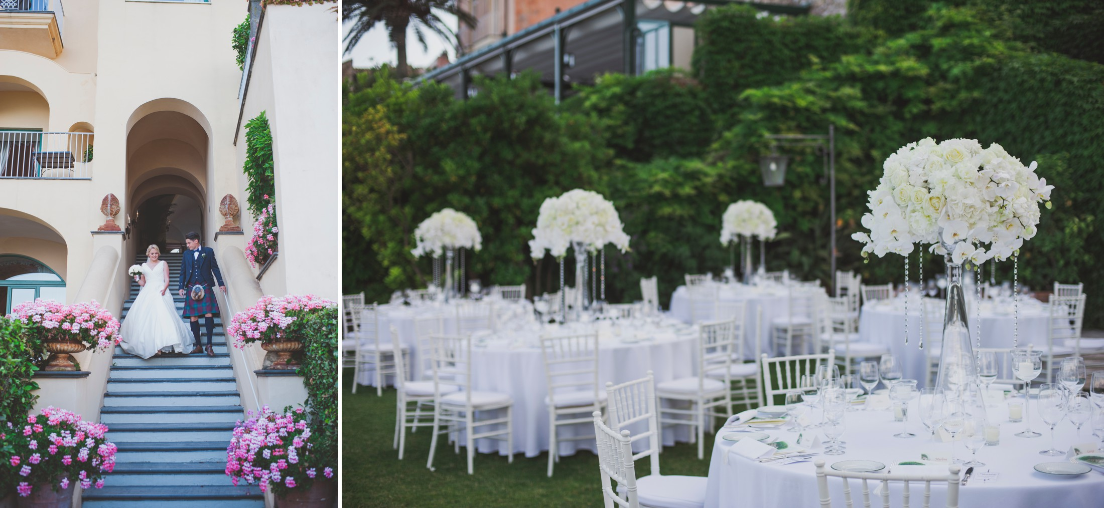 collage wedding tables at the hotel caruso