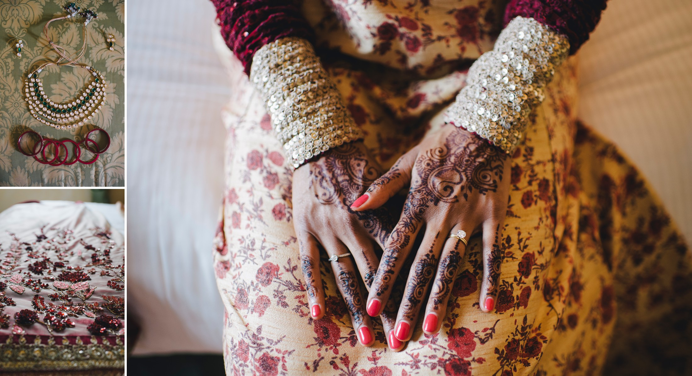 bride's hand with typical indian tattoos
