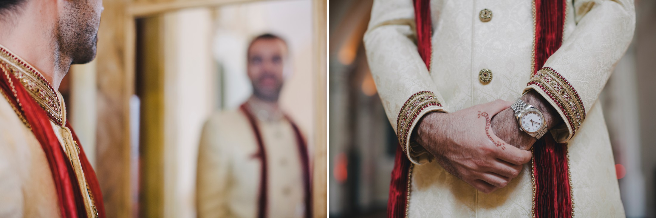 collage indian groom getting ready