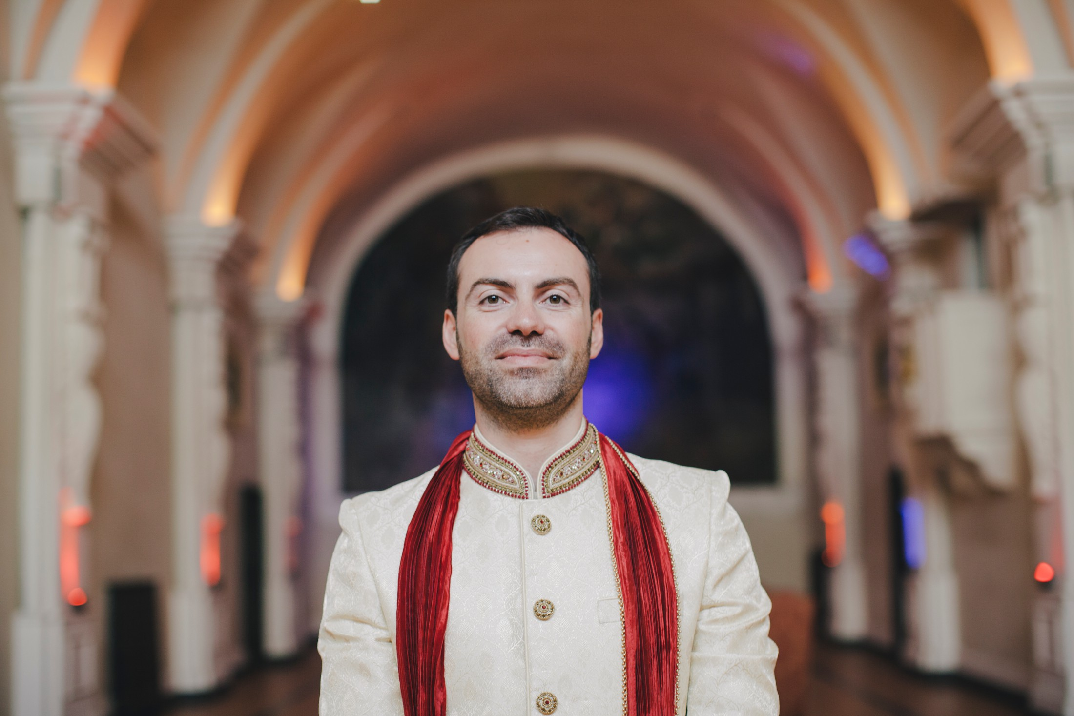 groom's portrait in typical indian wedding suit
