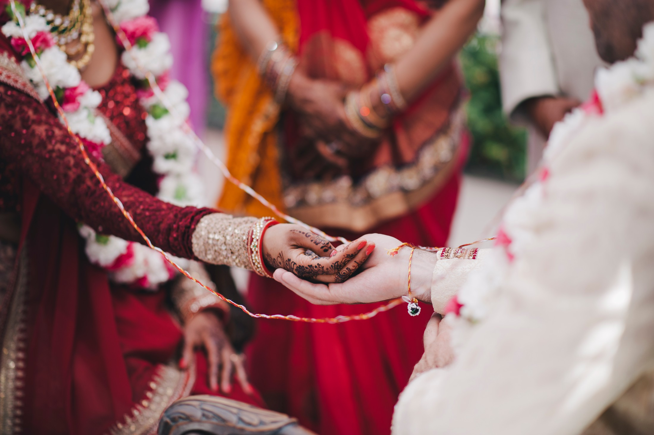 indian bride and groom's hands