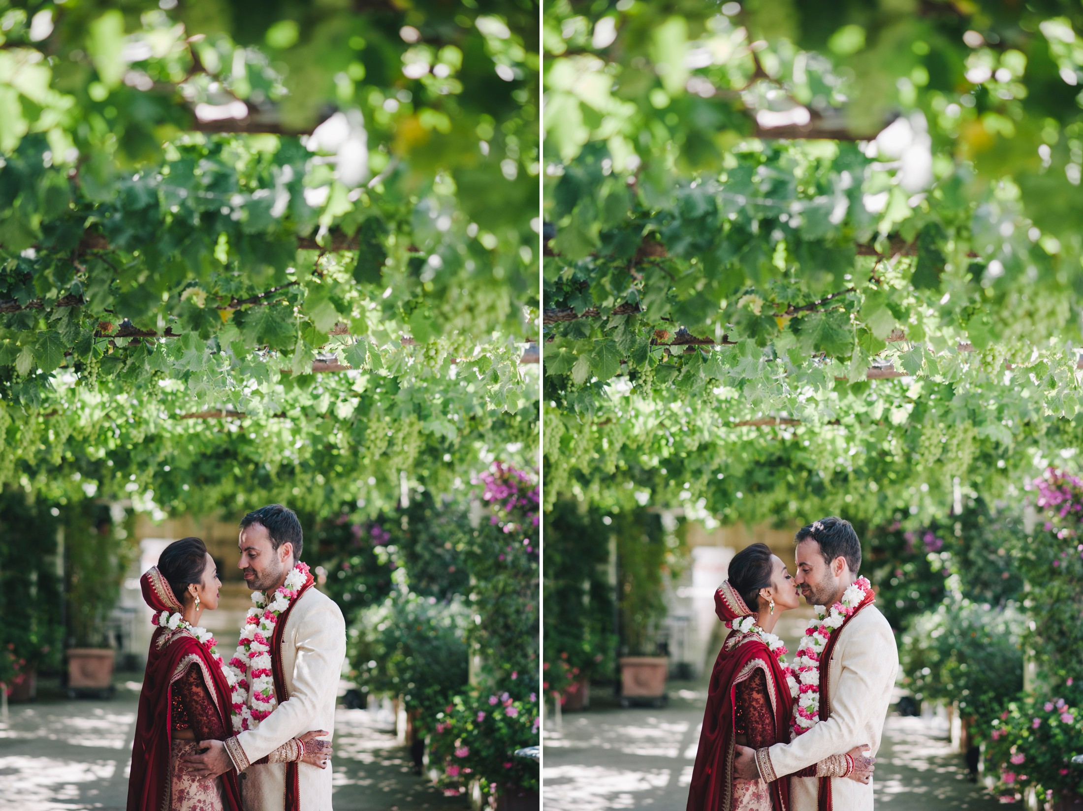collage the bride and the groom kissing