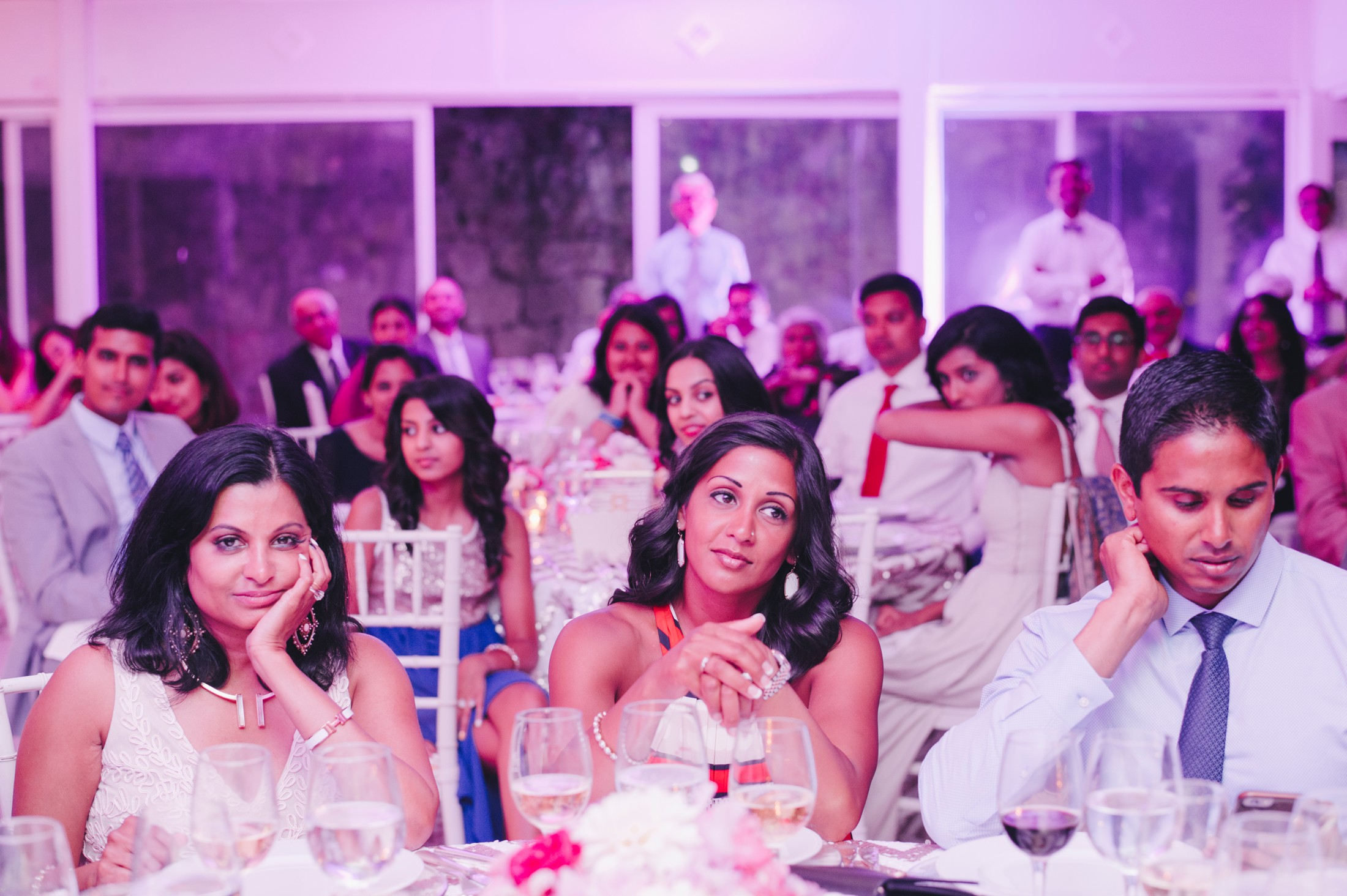 wedding guests during the speeches