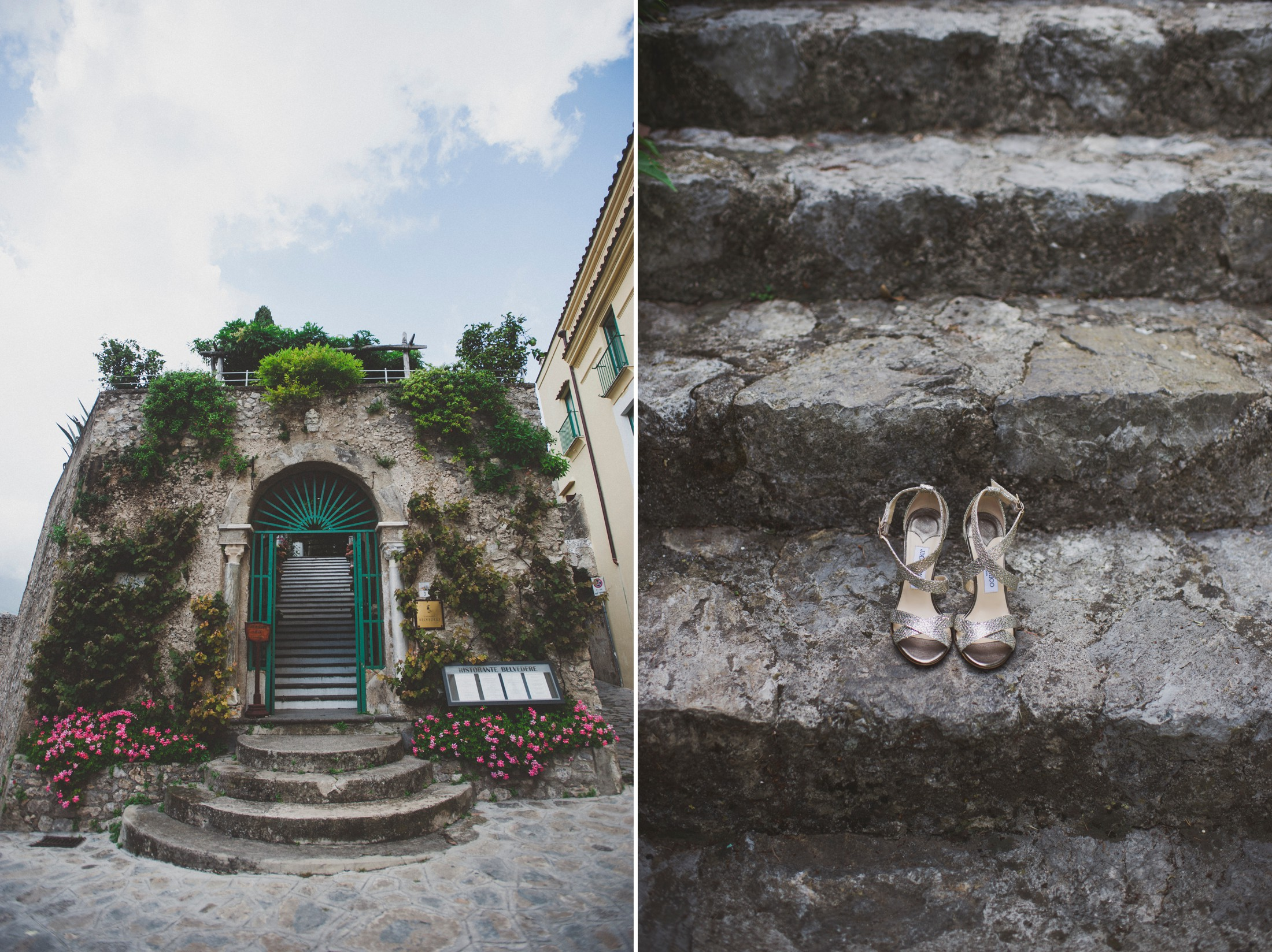 collage bride's shoes on the stairs and entrance of hotel caruso in ravello