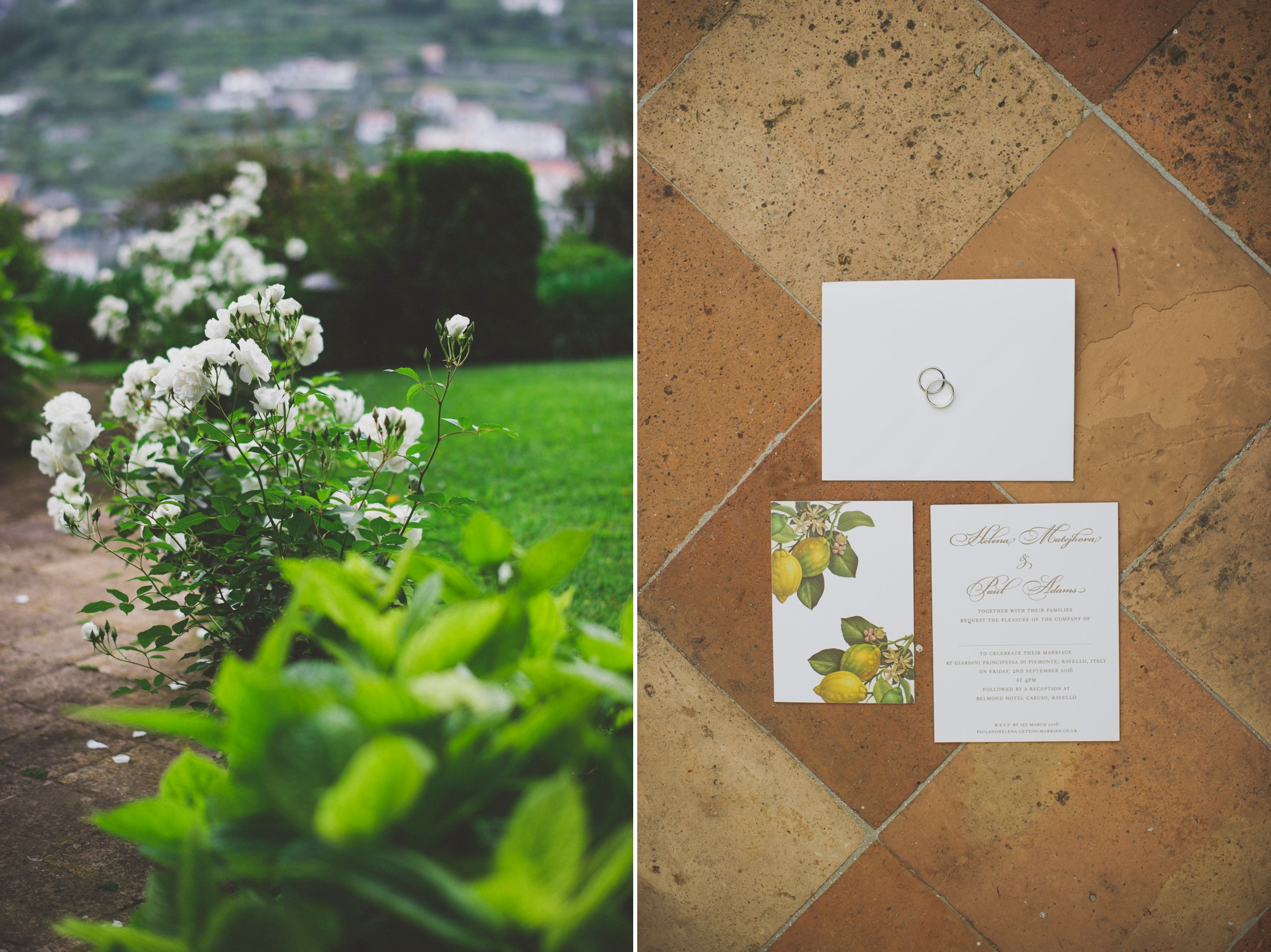 collage wedding invitations and flowers