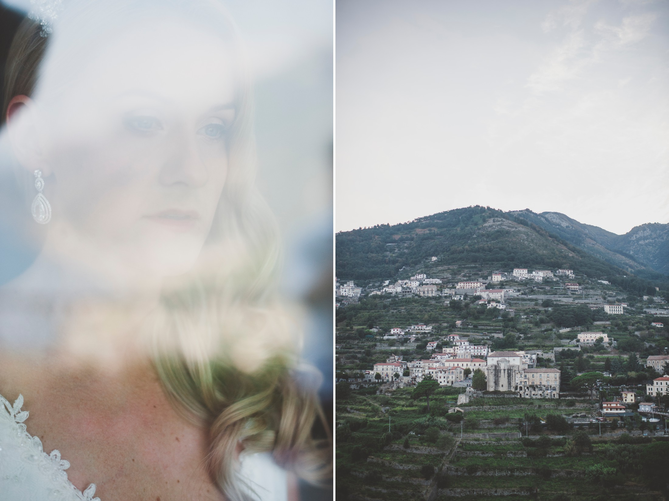 wedding in ravello collage the bride behind a window and ravello view