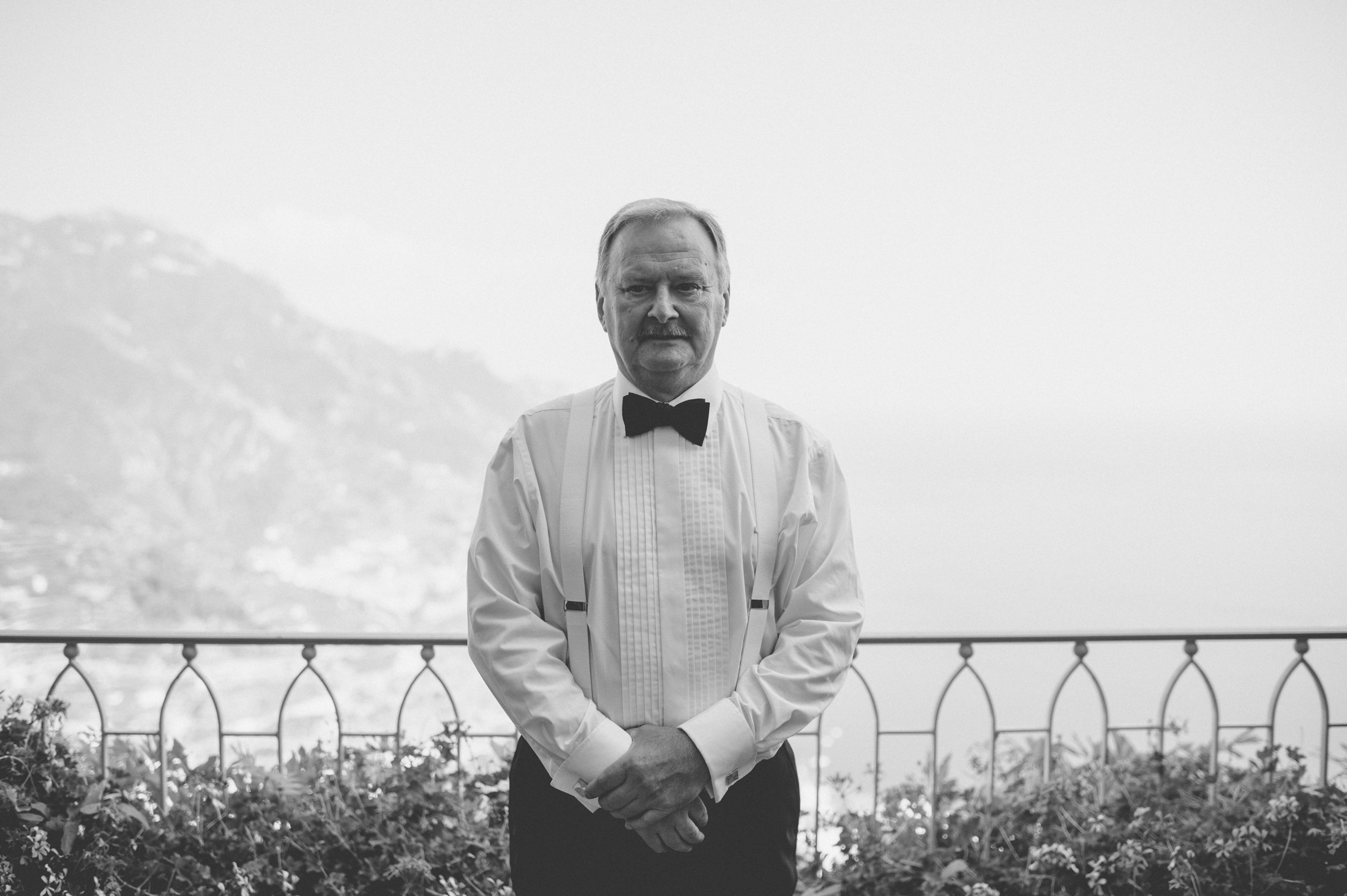 wedding in ravello bride's father portrait