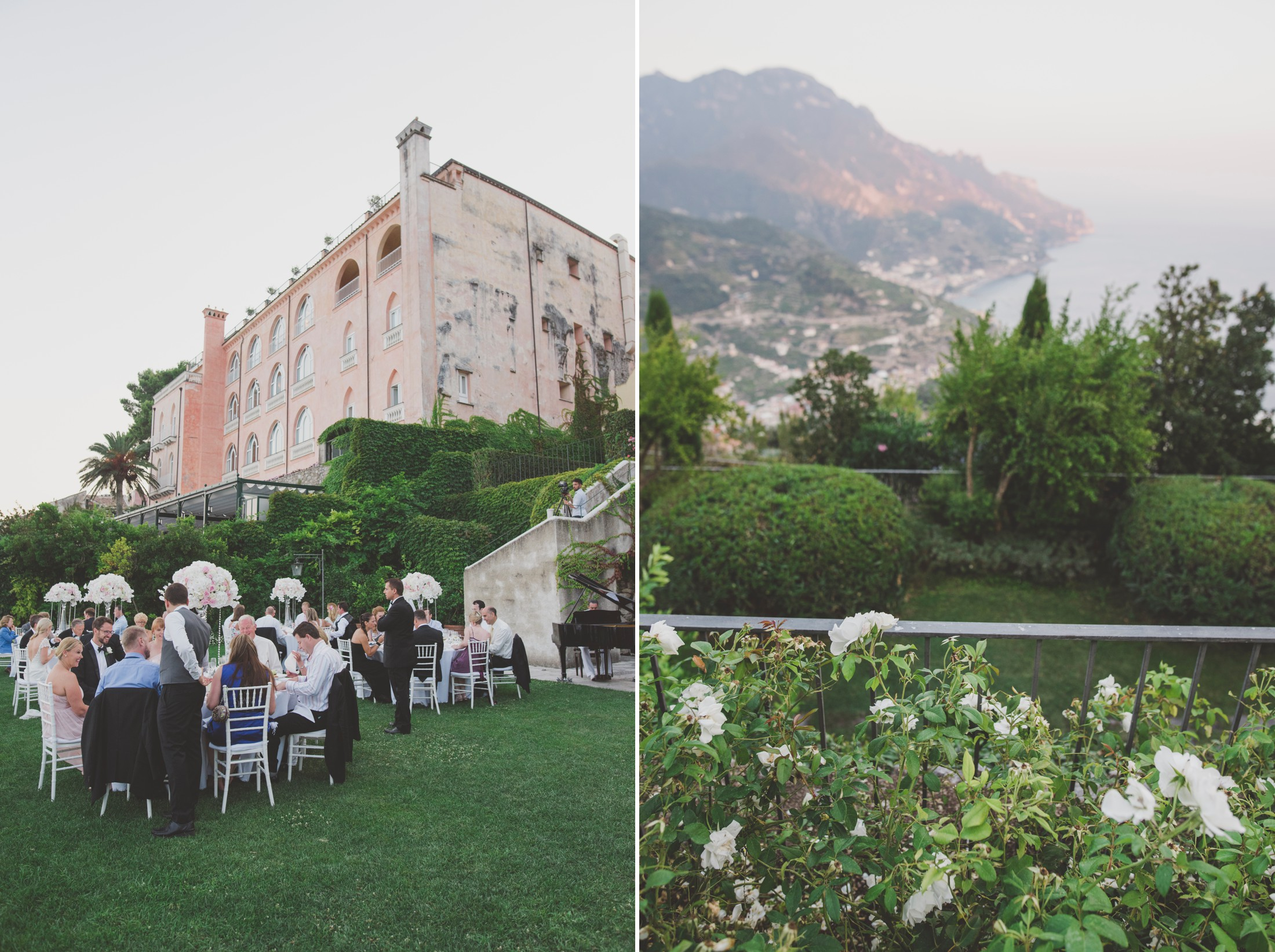 wedding in ravello collage guests at the belmont hotel caruso