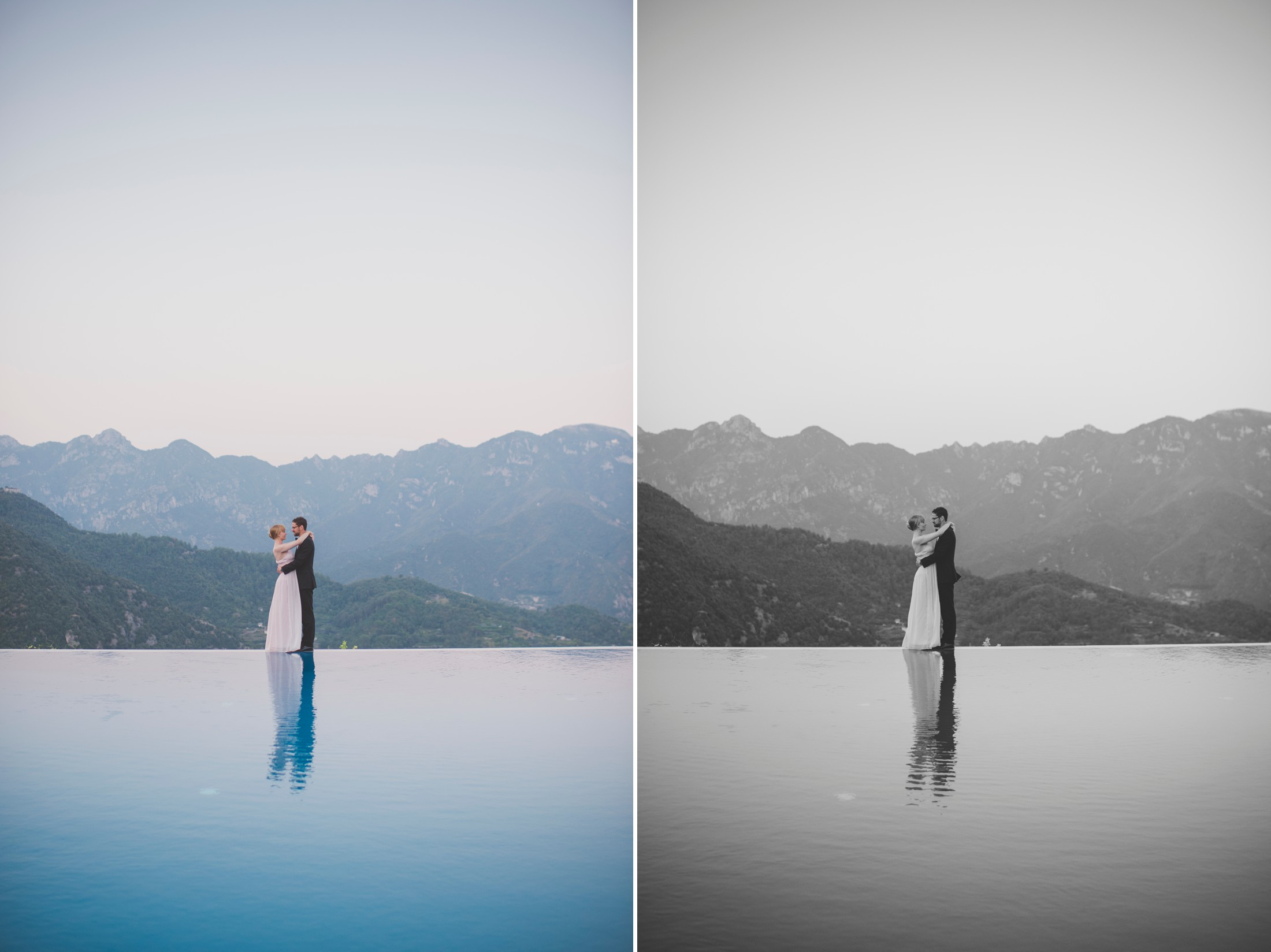 wedding in ravello couple's portrait by the infinity pool of the belmont hotel caruso
