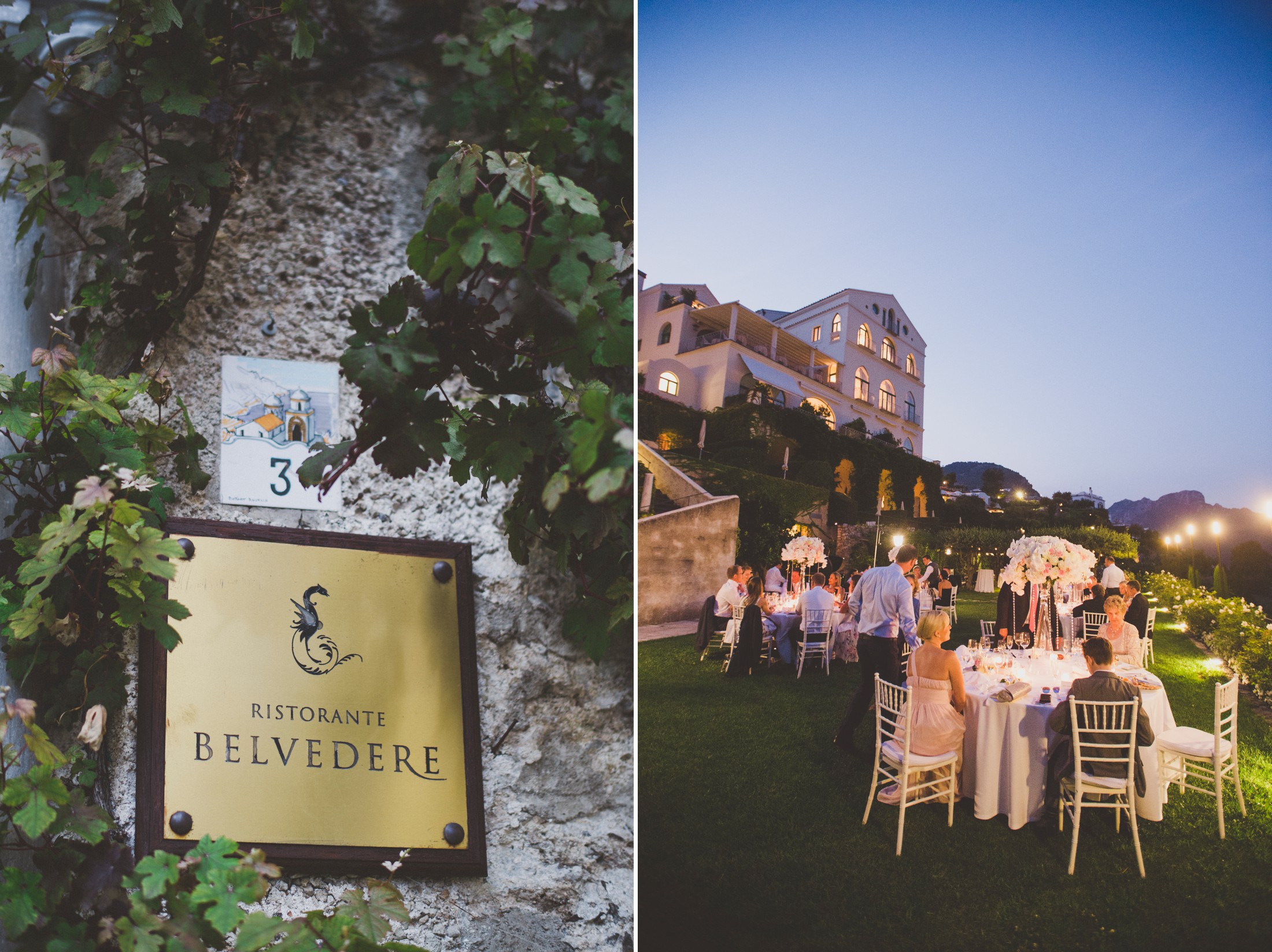 wedding in ravello collage belmont hotel caruso sign and wedding dinner in the garden