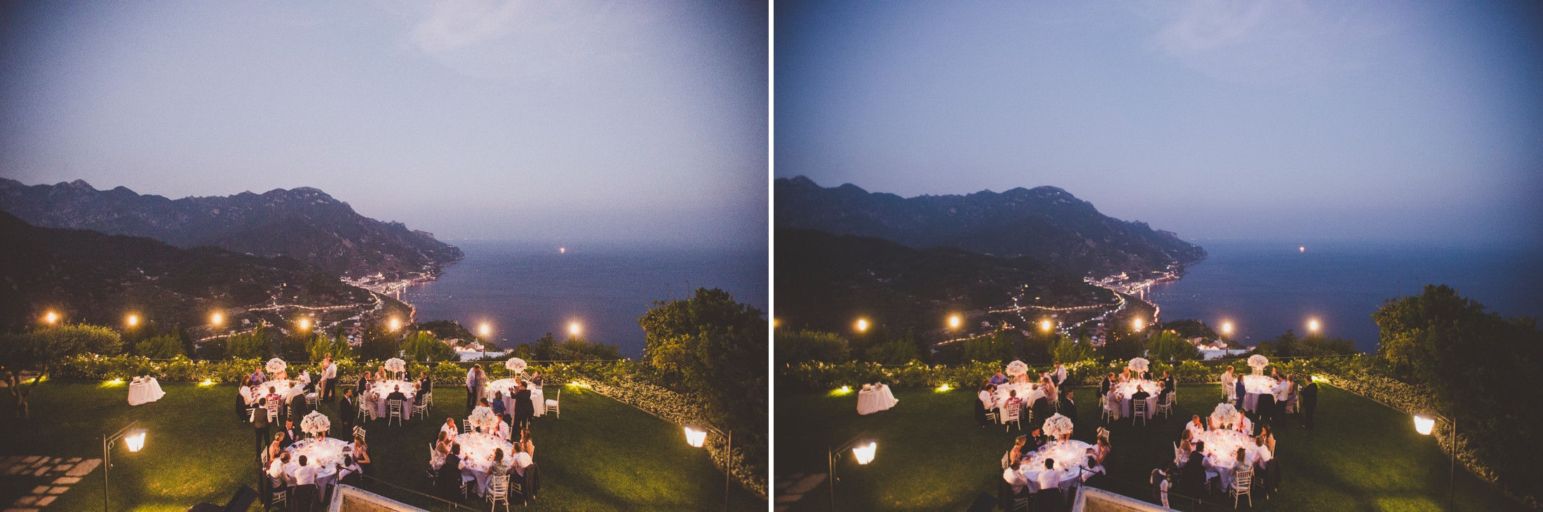 wedding in ravello collage two moments from the dinner at the hotel caruso