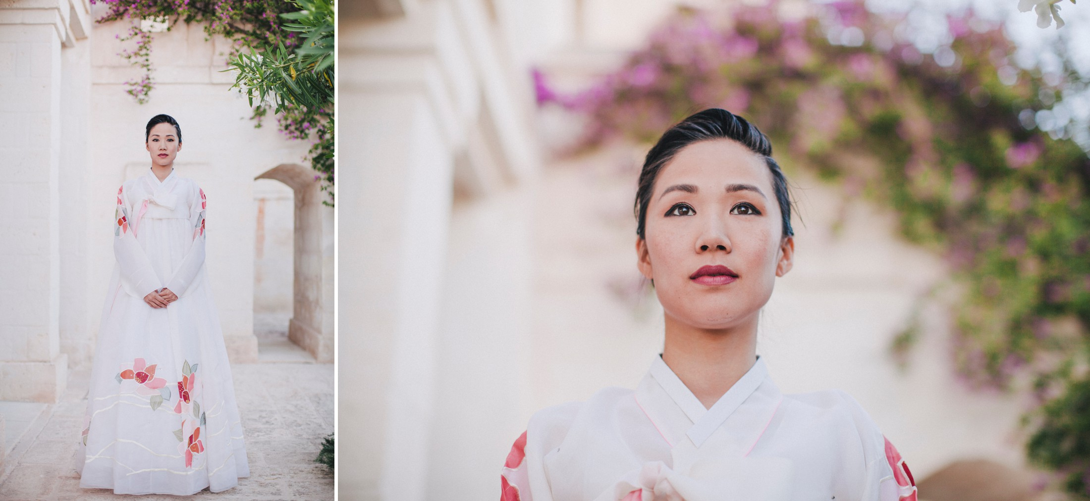 collage wedding guest in a Korean traditional dress
