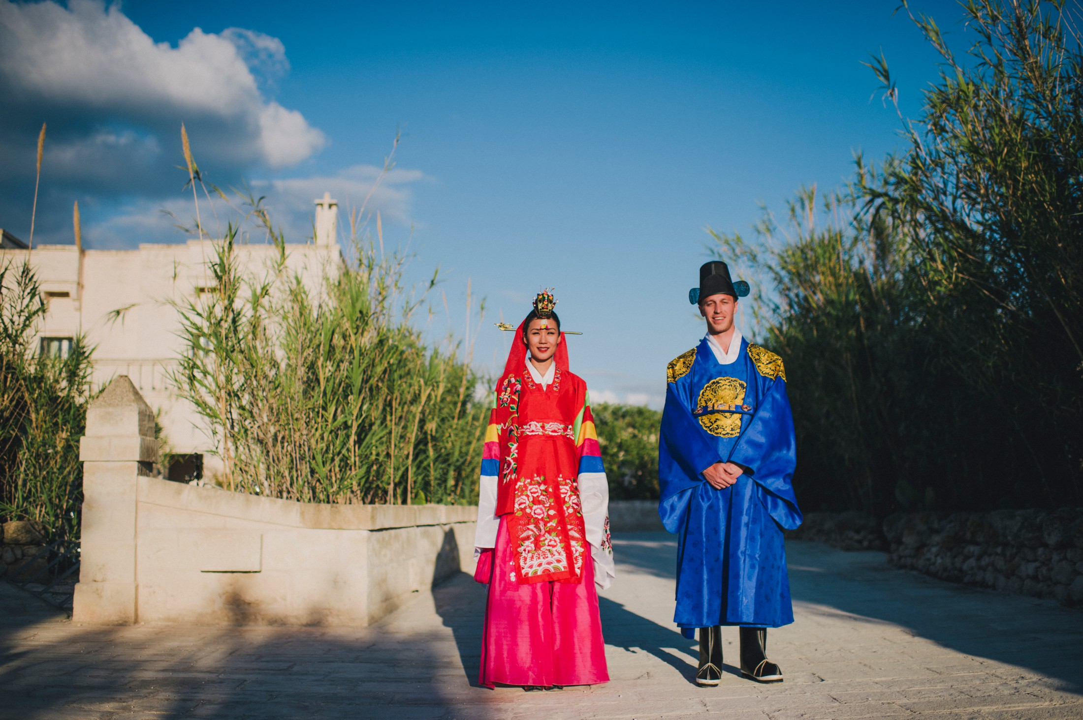 bride and groom's portrait at Borgo Egnazia Apulia