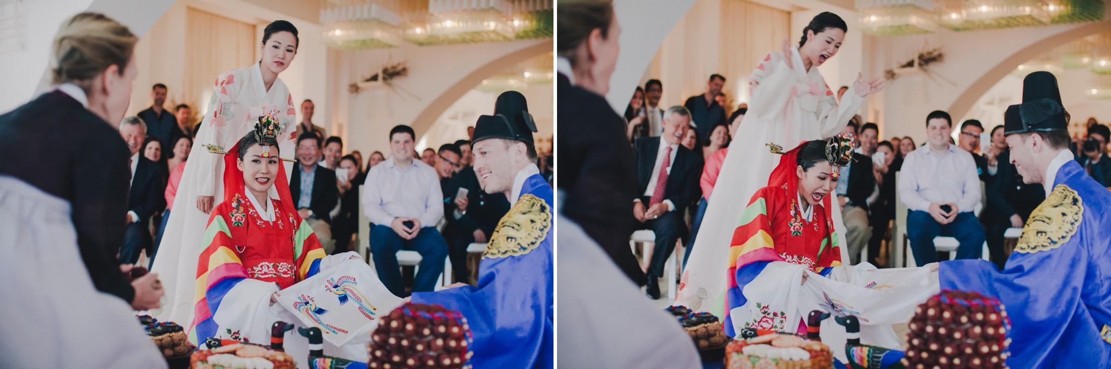 bride and groom during the traditional Korean wedding ceremony at Borgo Egnazia Apulia