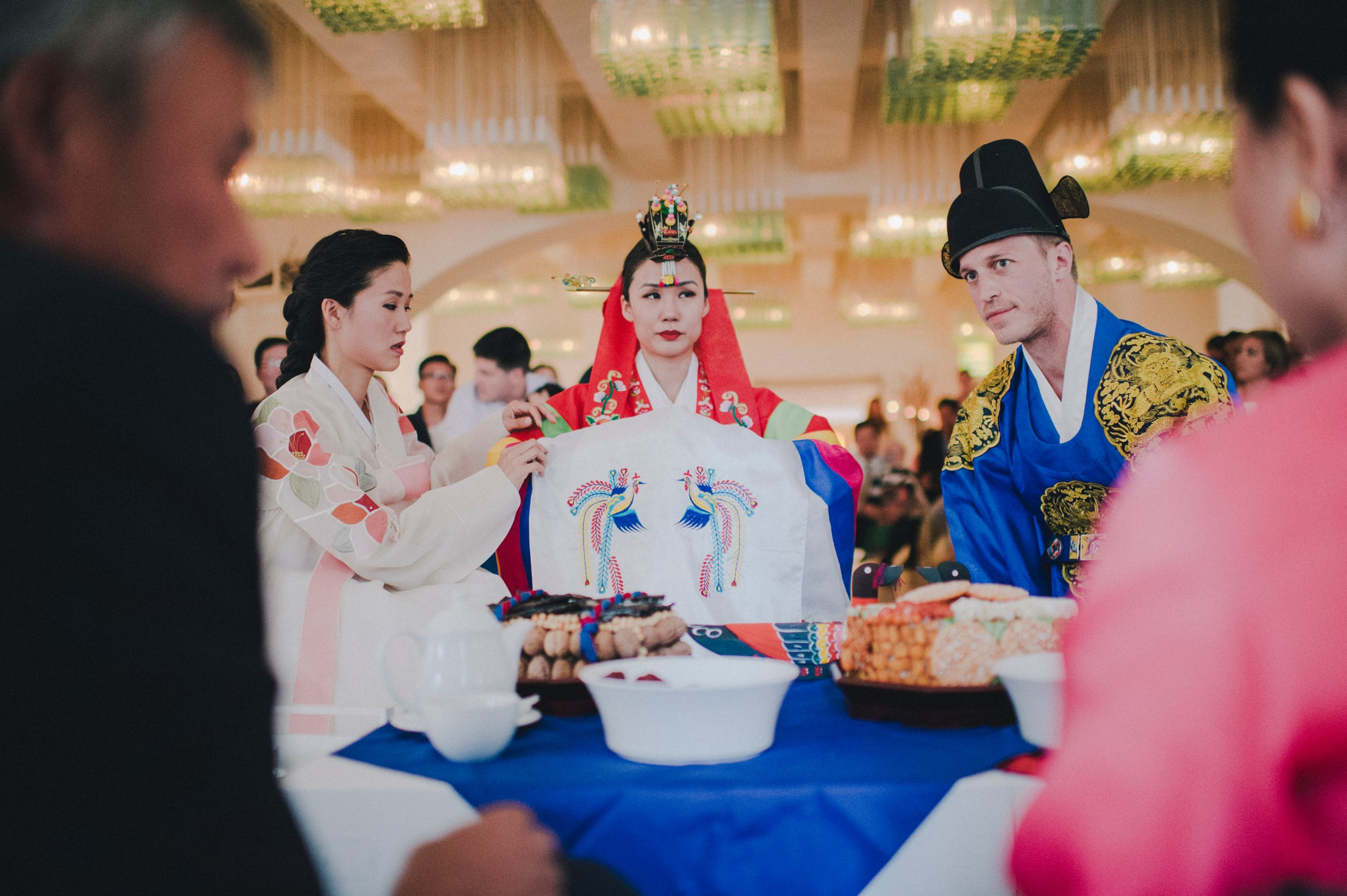 bride and groom during the traditional Korean wedding ceremony at Borgo Egnazia Apulia