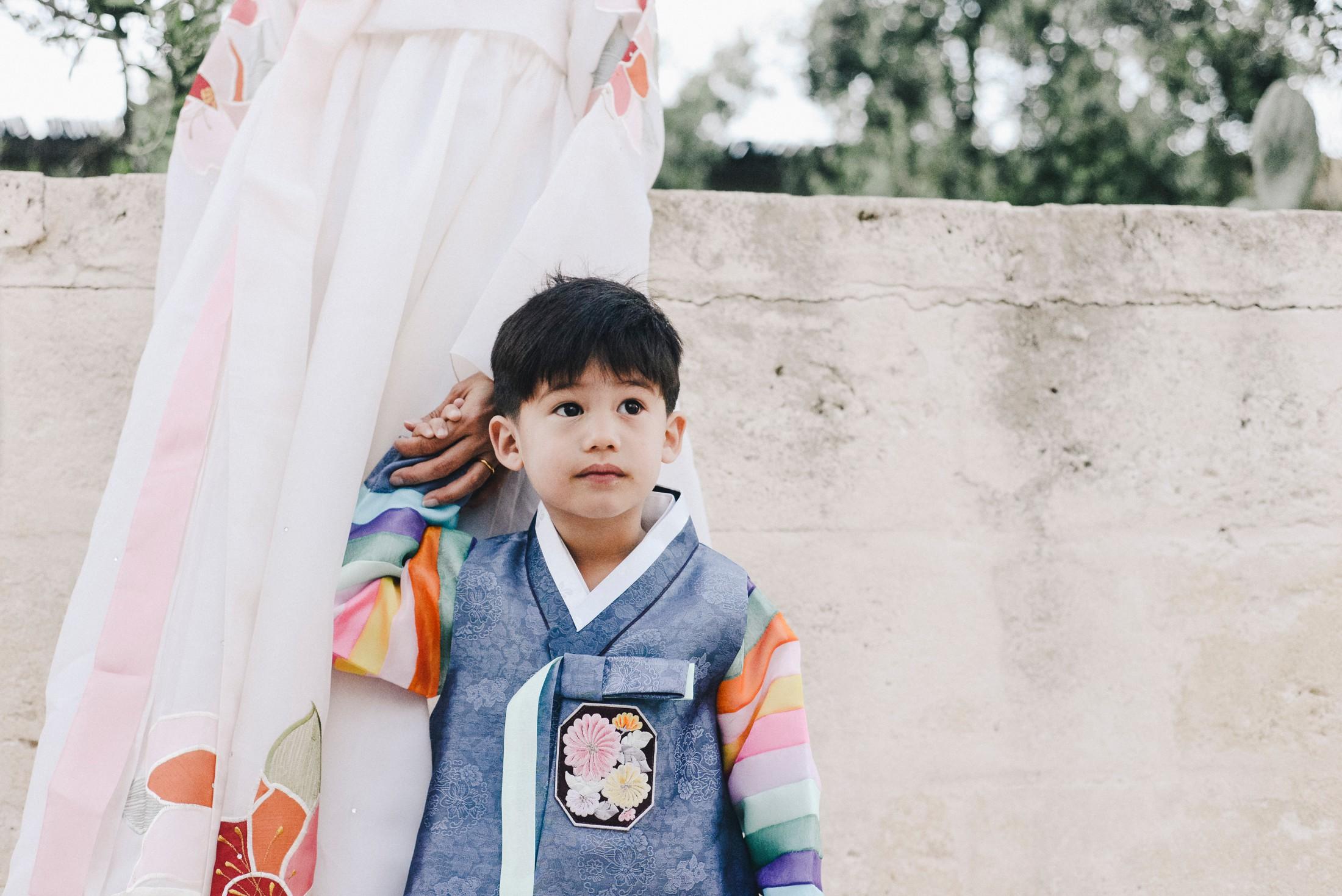 child with Korean dress