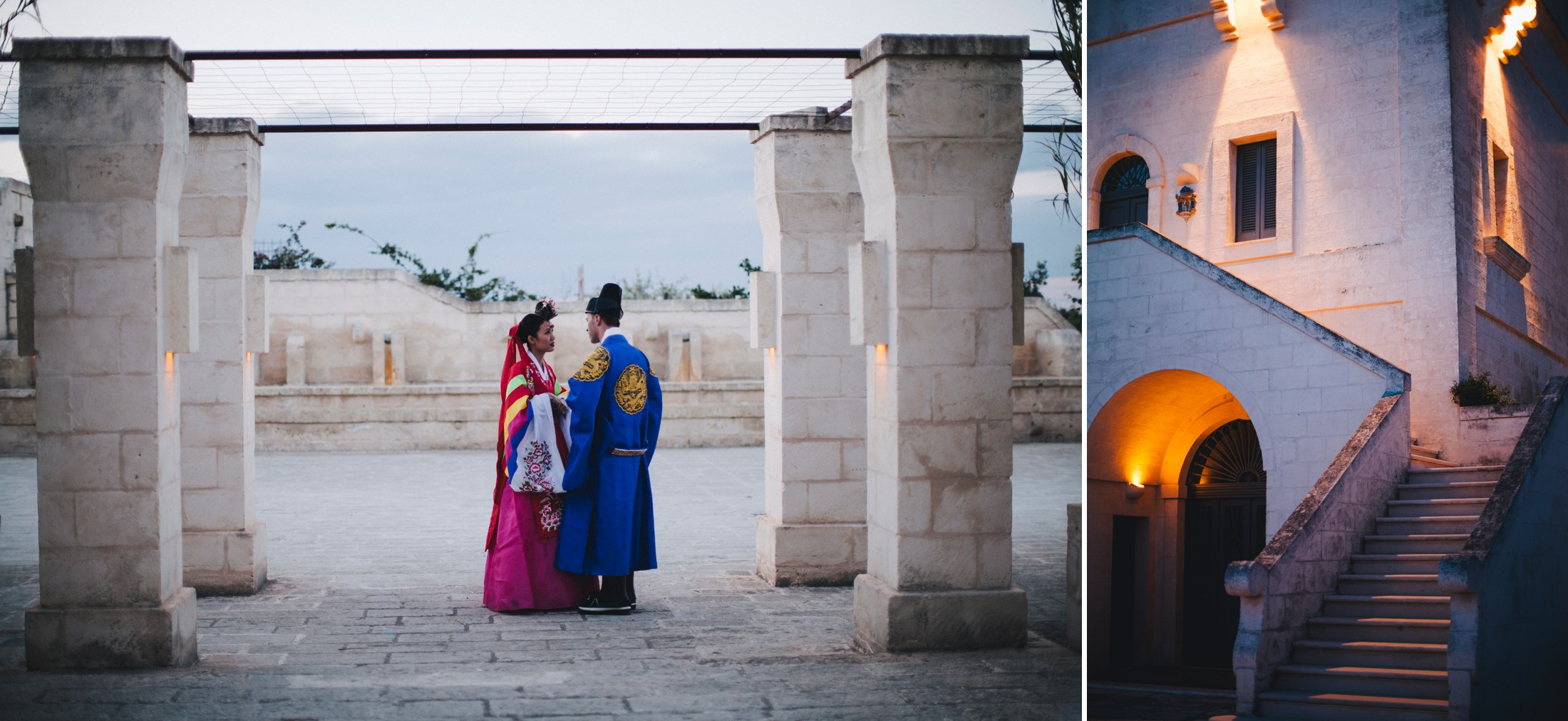 collage bride and groom's portrait and Borgo Egnazia by night