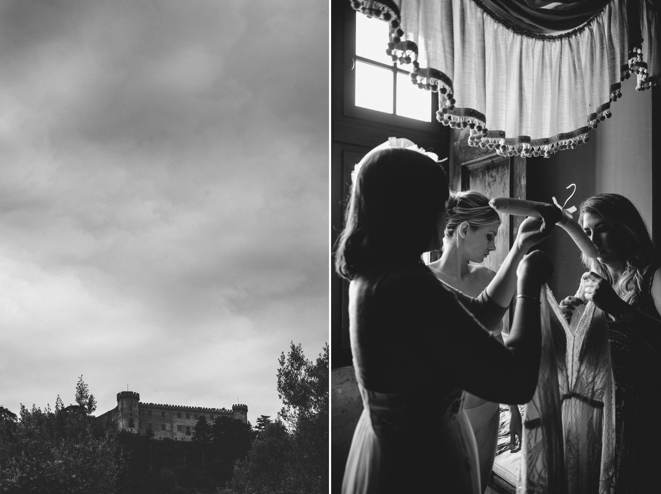 wedding in rome collage castle odescalchi and the bride getting dressed in black and white