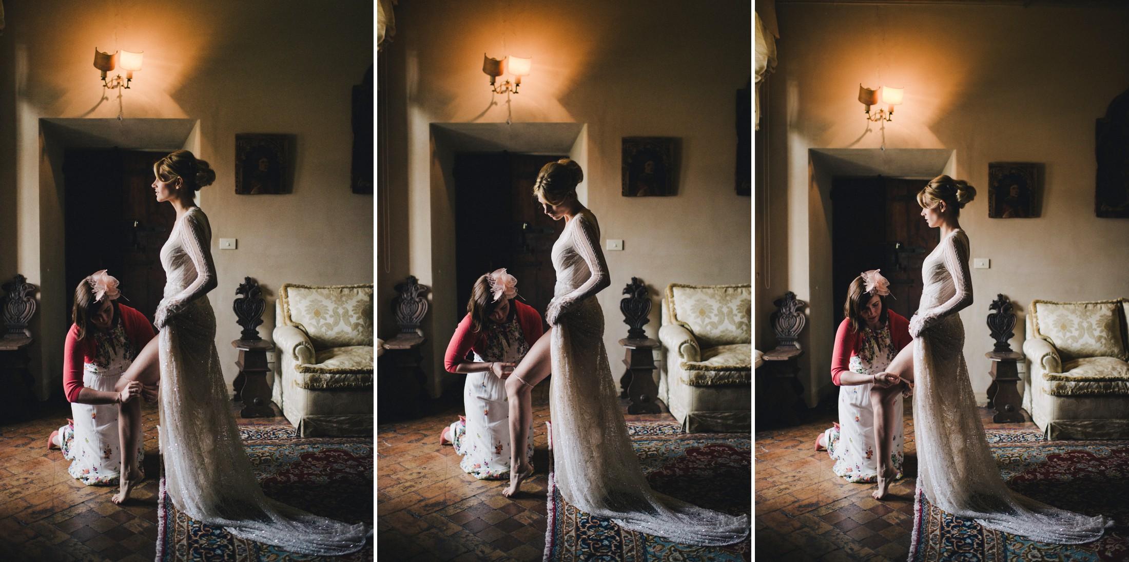 wedding in rome collage bride wearing the garter