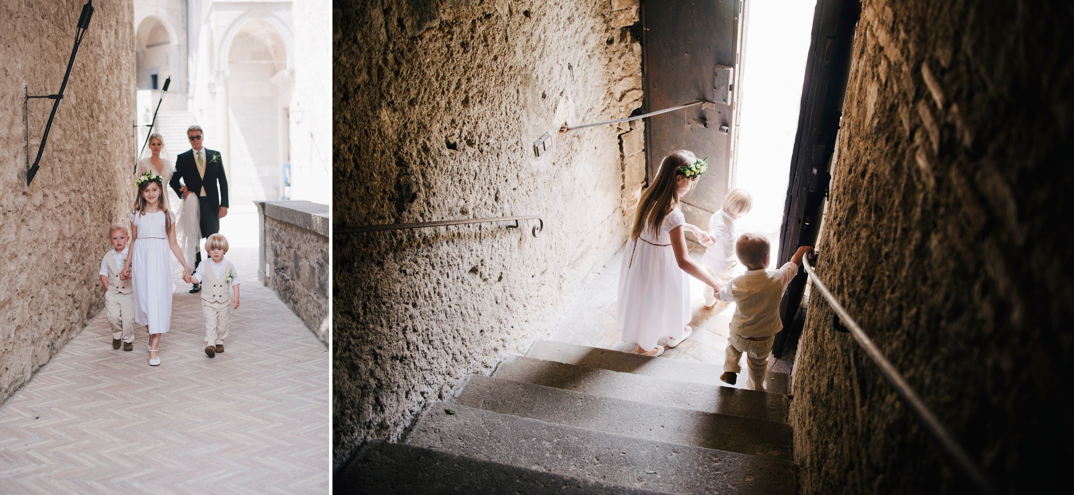 wedding in rome collage the bride with her father going to the ceremony flower girl and boy