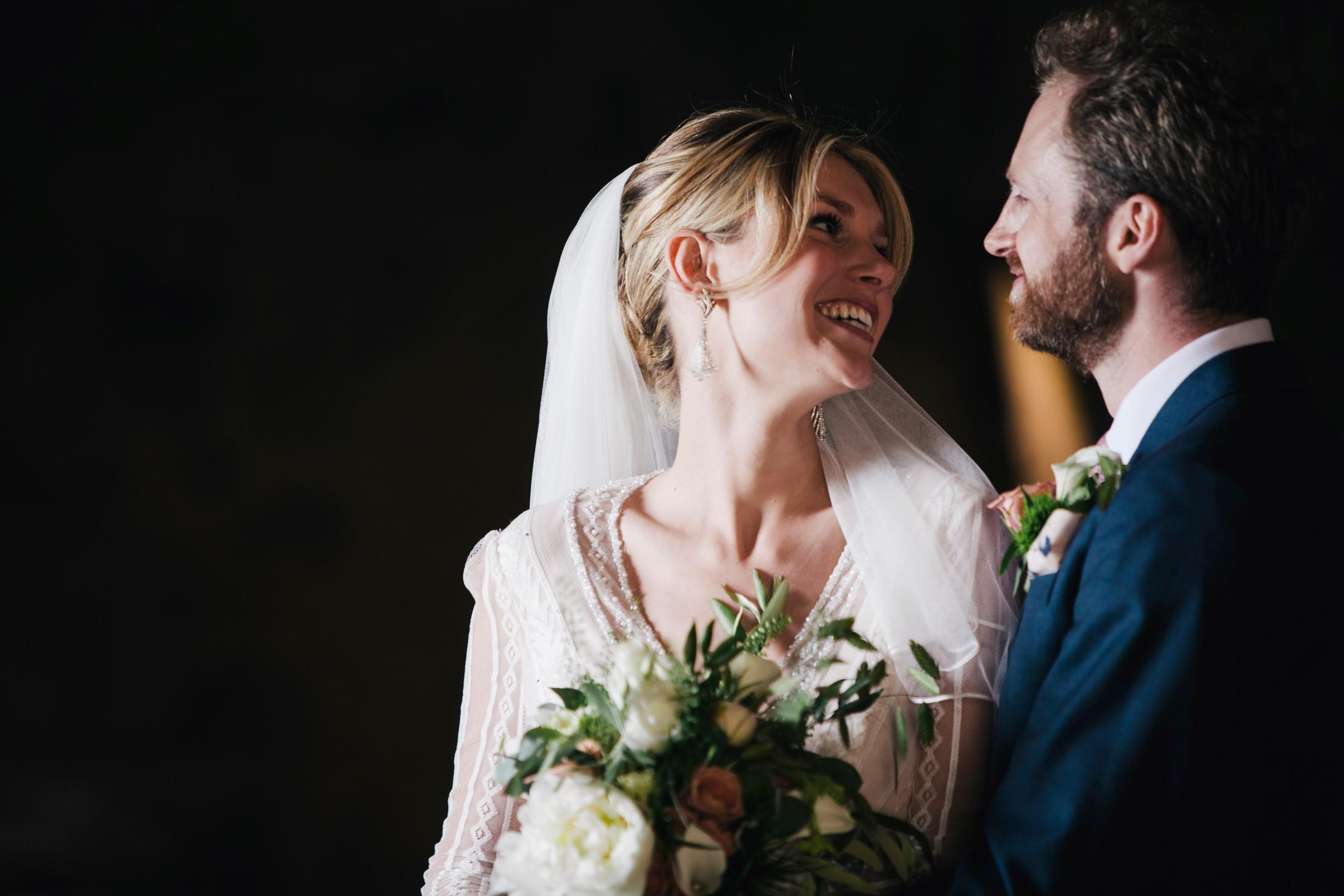 wedding in rome bride and groom's portrait