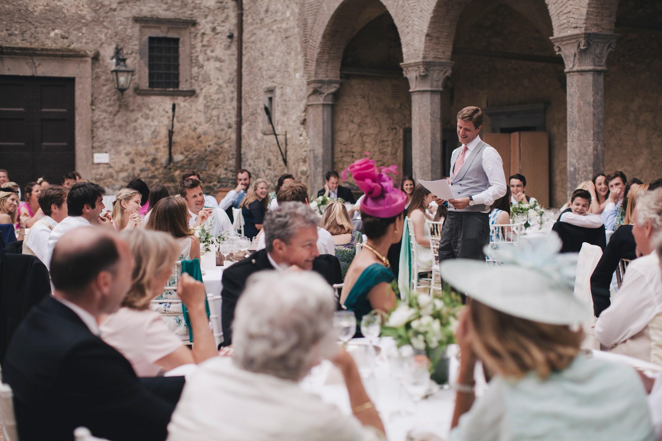 wedding in rome best man during his speech