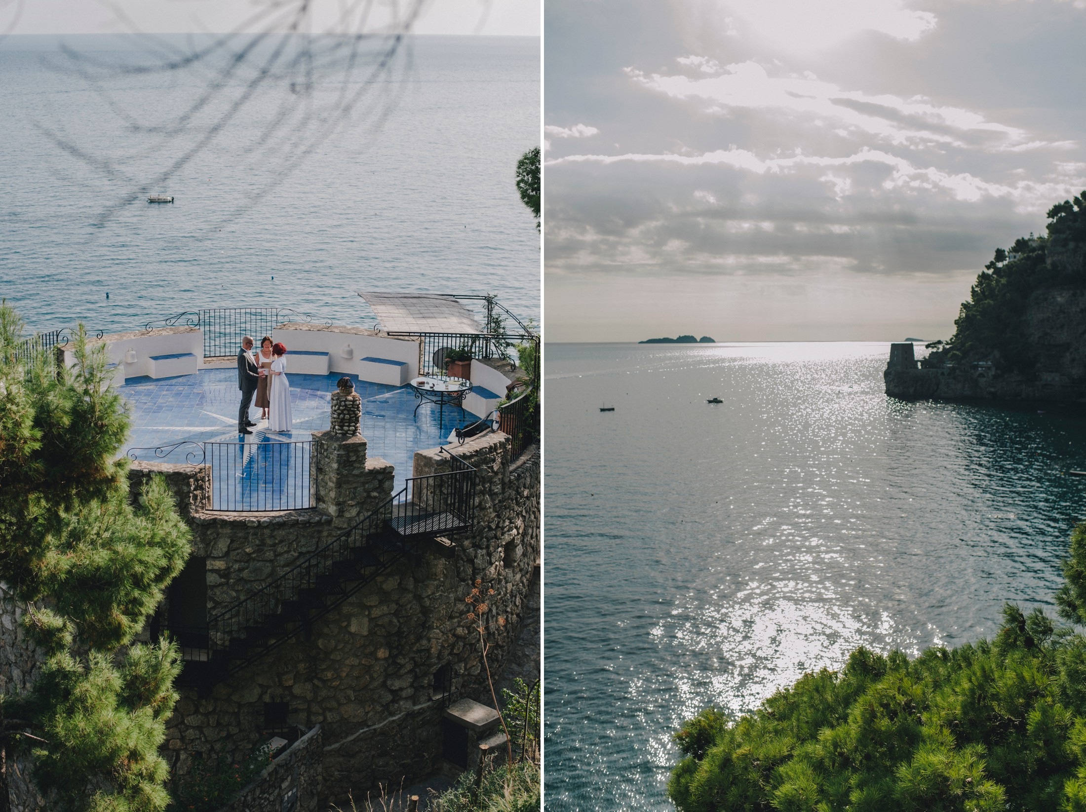 positano elopement collage landscape and the terrace where the bride and the groom are getting married