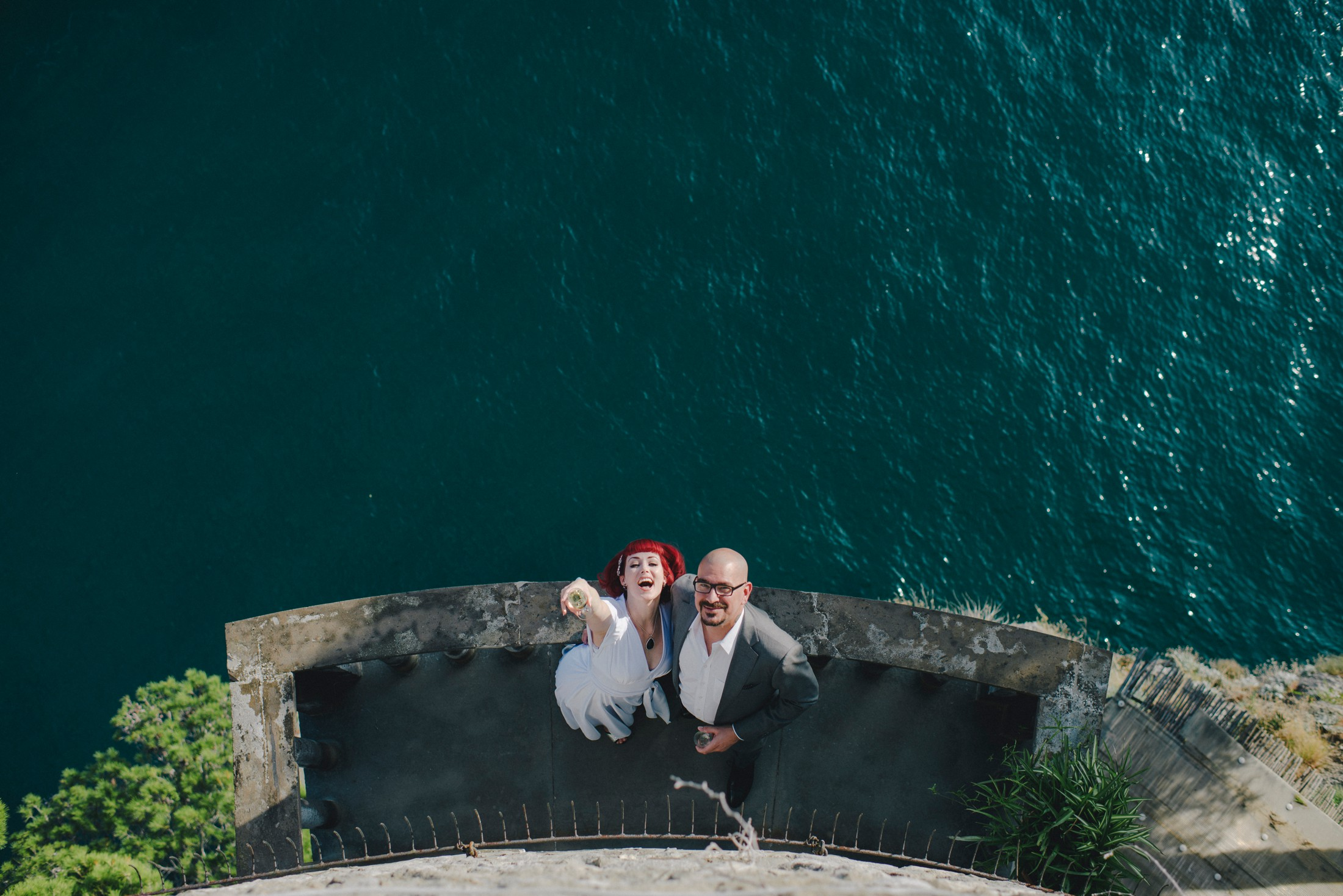 positano elopement bride and groom from high