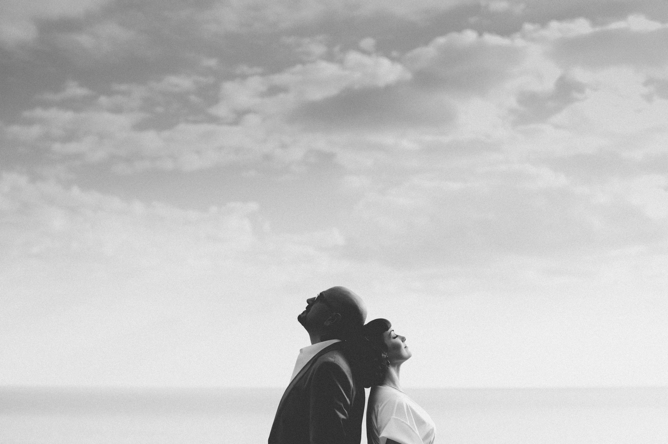 positano elopement bride and groom's portrait in black and white