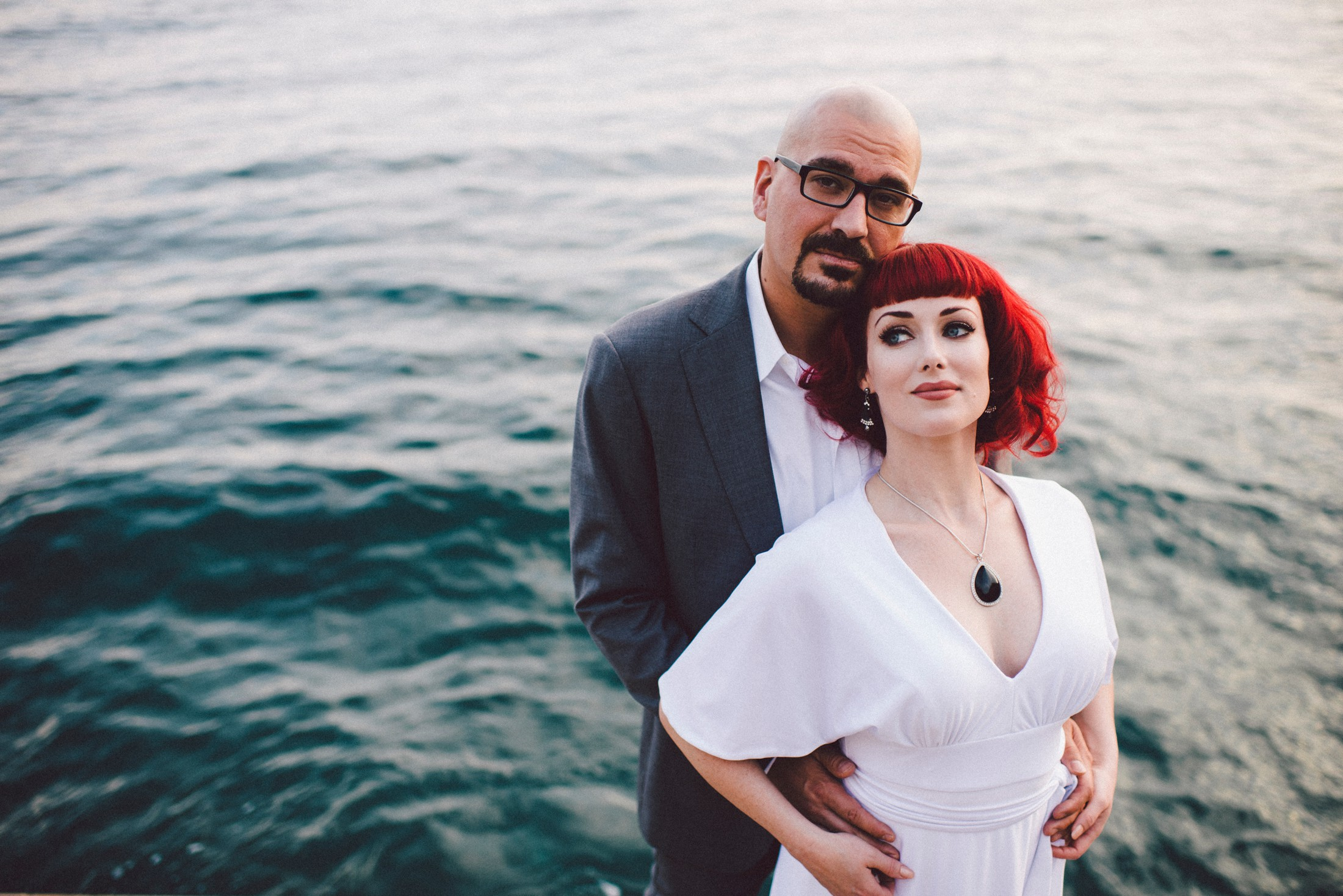 positano elopement bride and groom's portrait by the sea