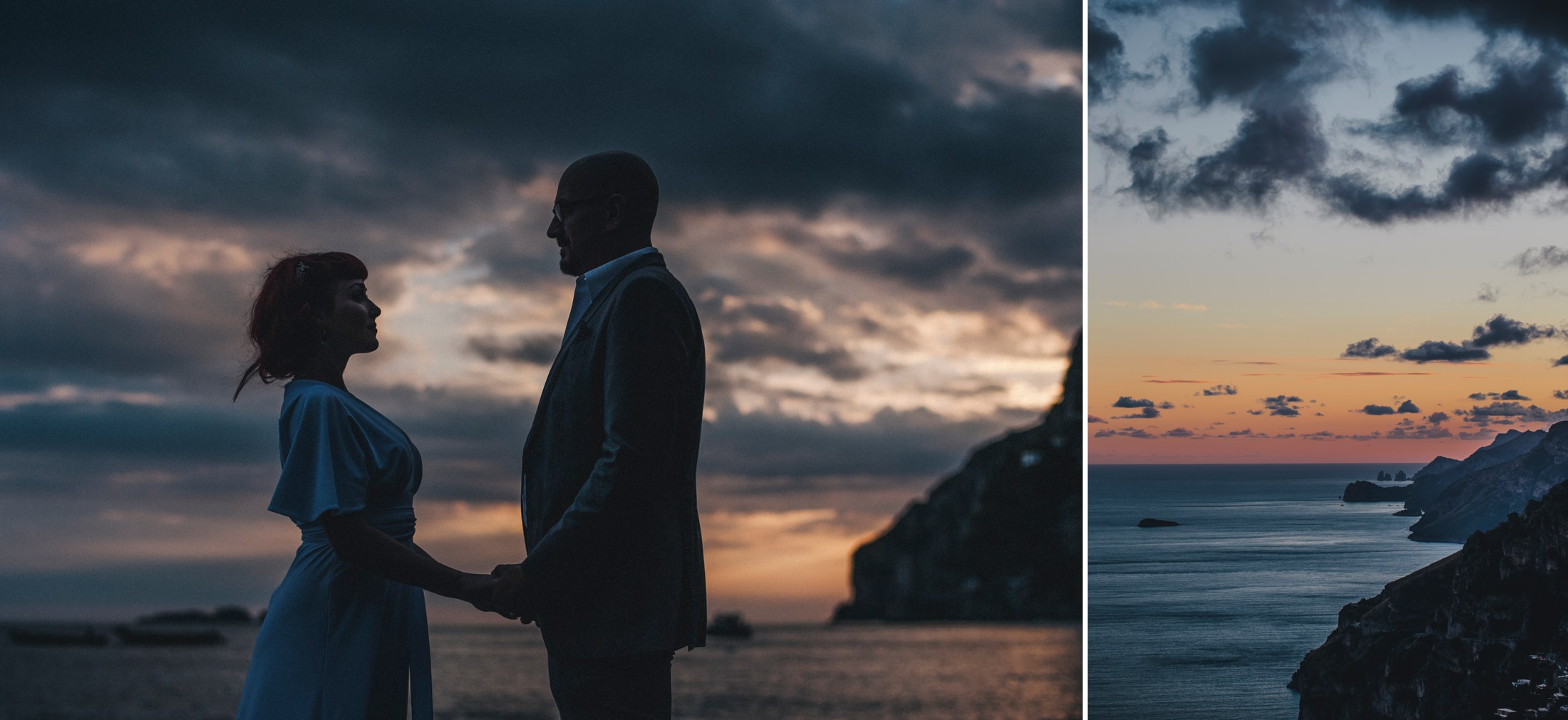 positano elopement collage bride and groom's portrait at sunset time and the sea