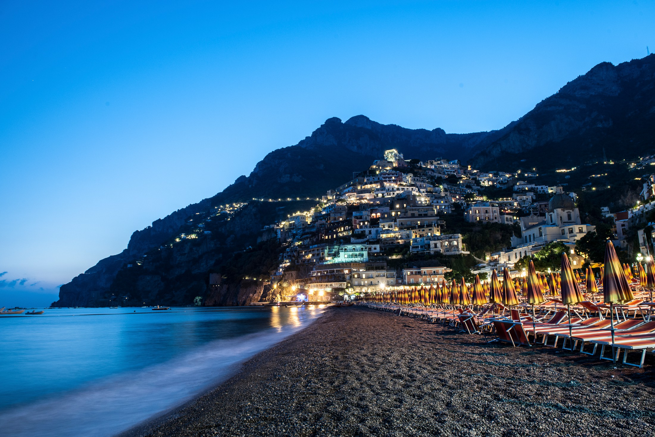 positano elopement the beach by night