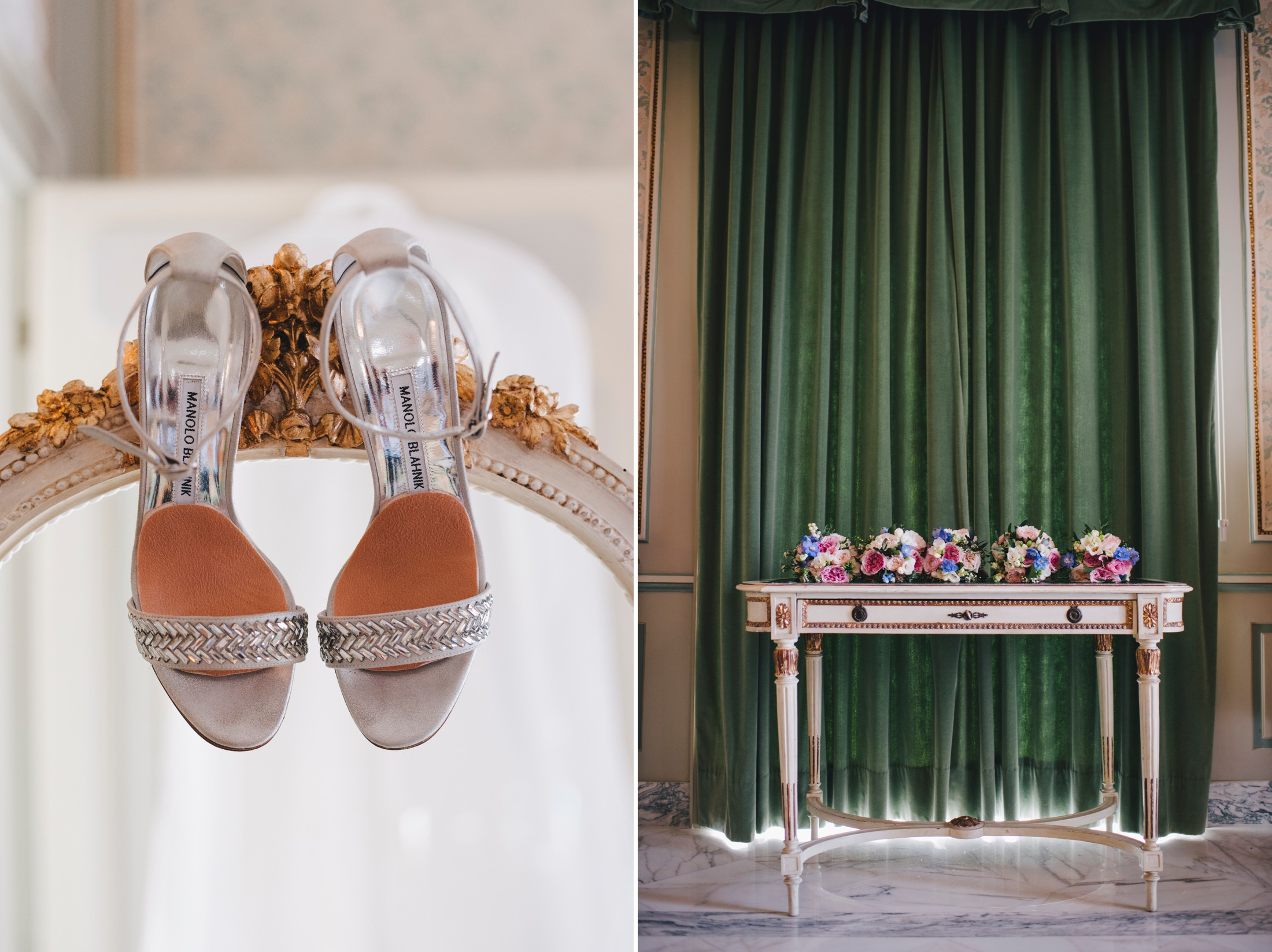 collage bride's wedding shoes and wedding bouquets
