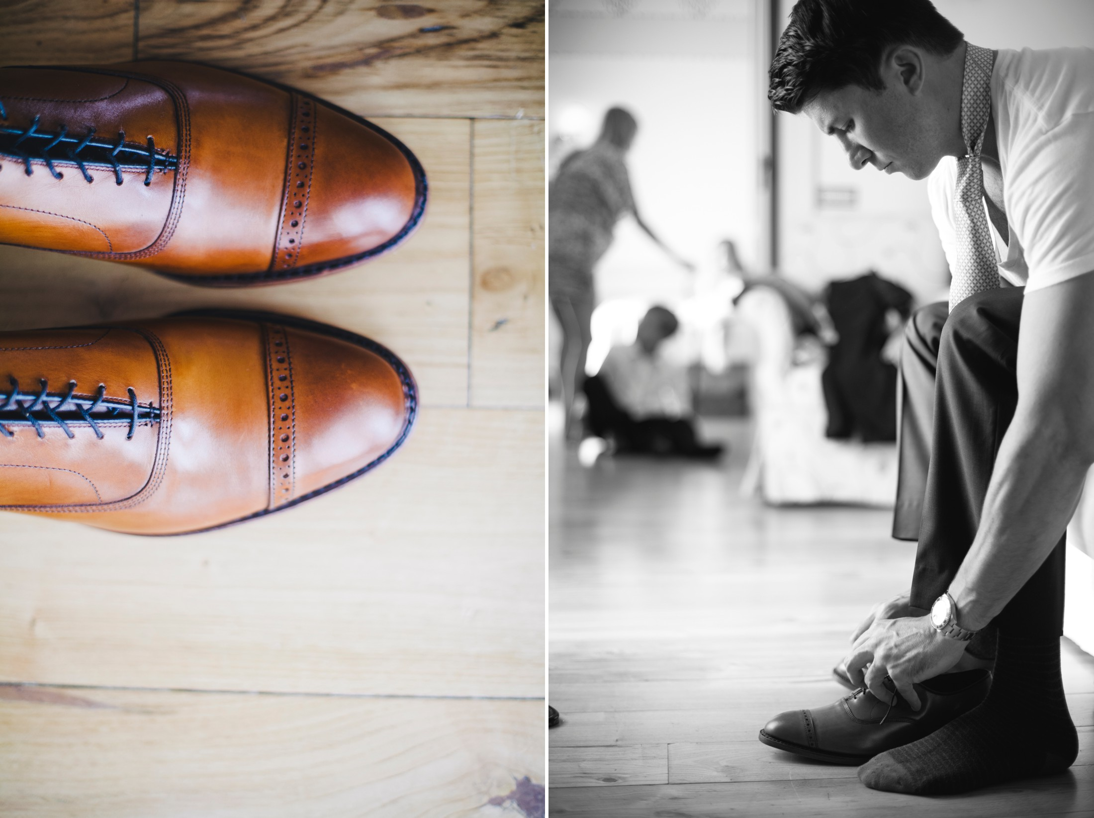wedding in sorrento collage the groom's shoes and the groom getting ready