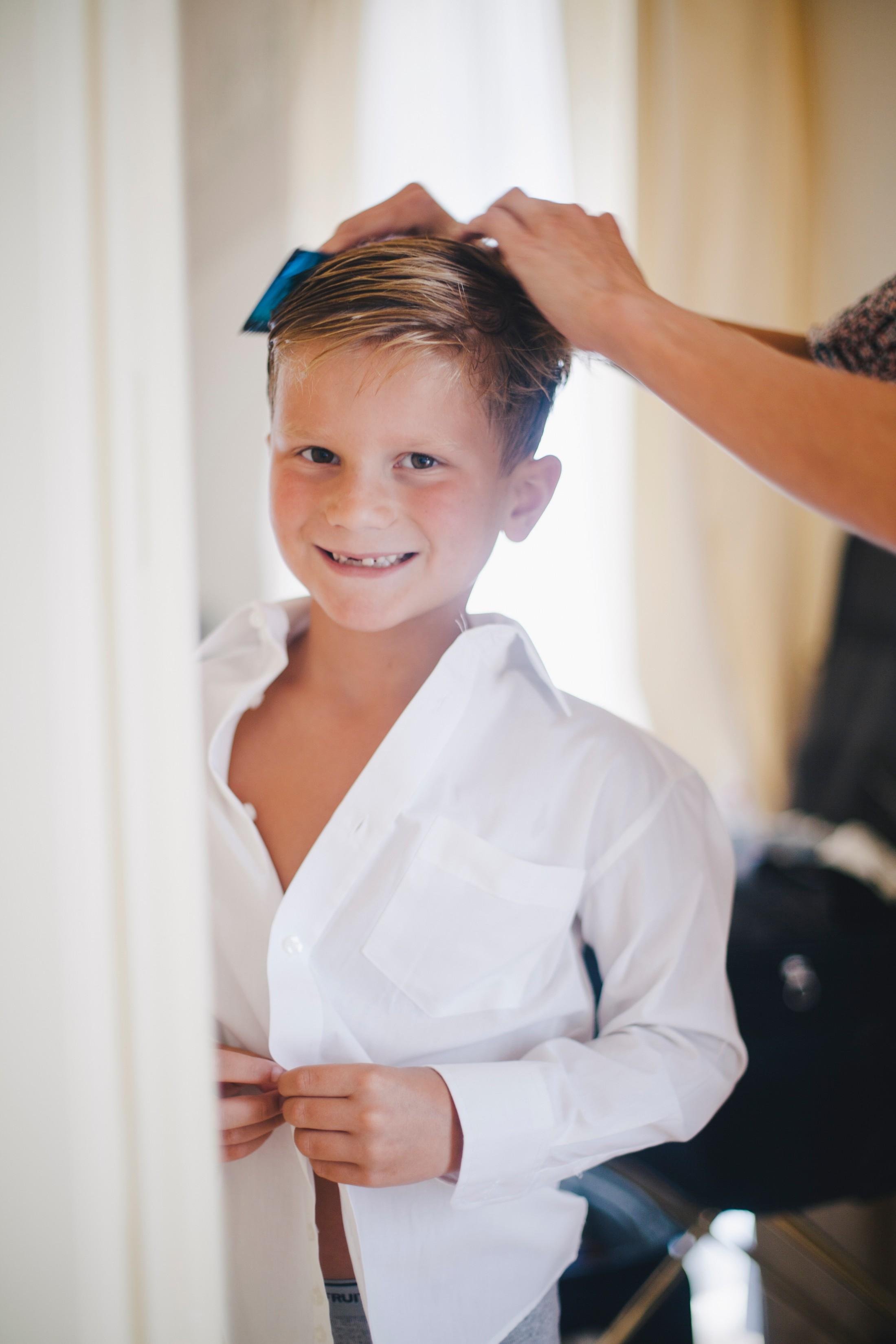wedding in sorrento young boy getting ready