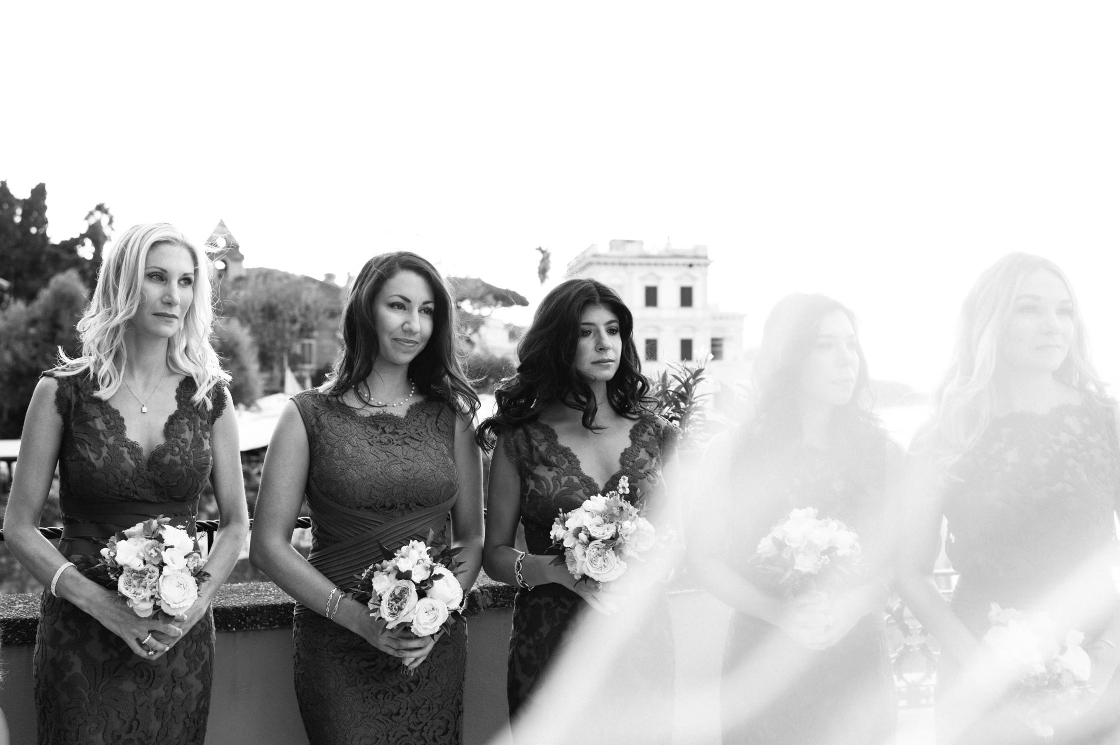 wedding in sorrento bridesmaids during the wedding ceremony