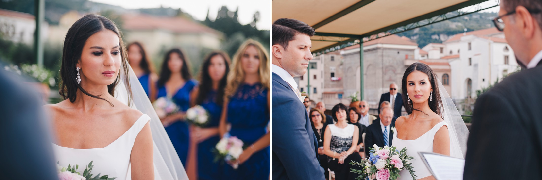 wedding in sorrento collage the bride and the groom during the wedding ceremony