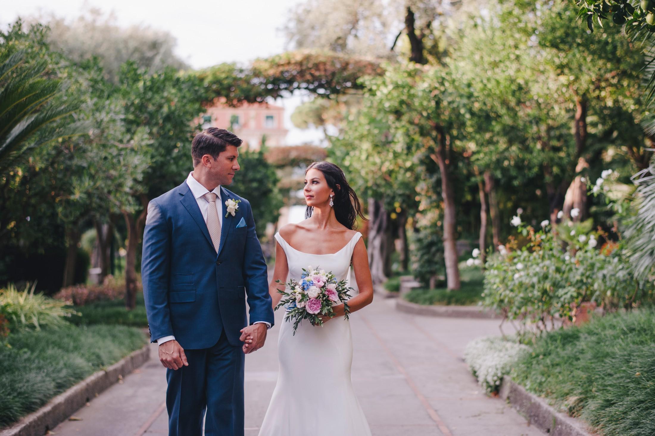 wedding in sorrento bride and groom walking together
